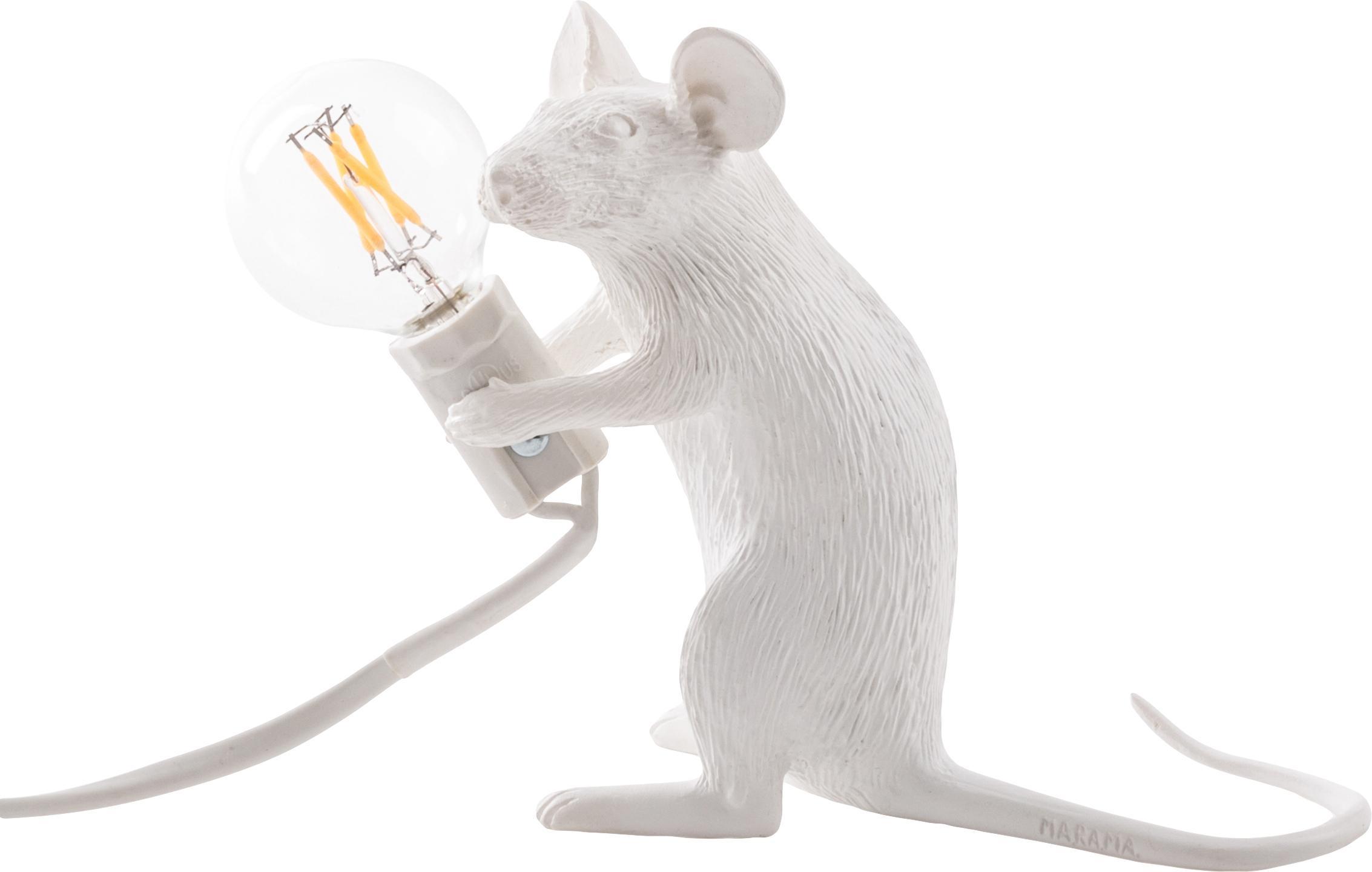 Lámpara de mesa de diseño Mouse, Lámpara: resina, Cable: plástico, Blanco, An 5 x Al 13