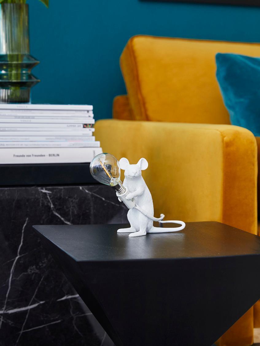 Design-Tischlampe Mouse, Weiß, 5 x 13 cm