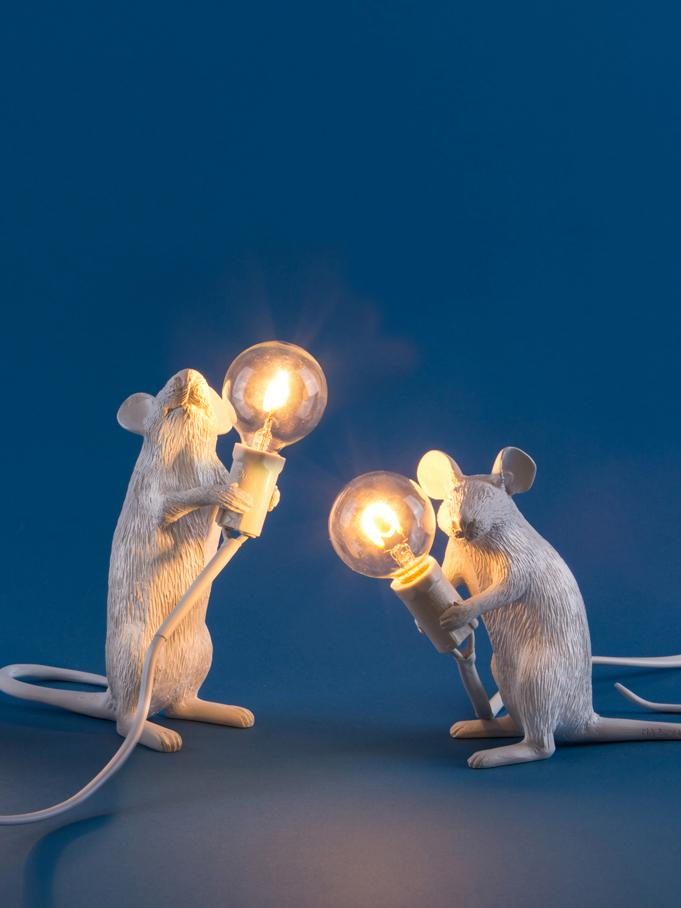Design tafellamp Mouse, Kunsthars, Wit, 5 x 13 cm