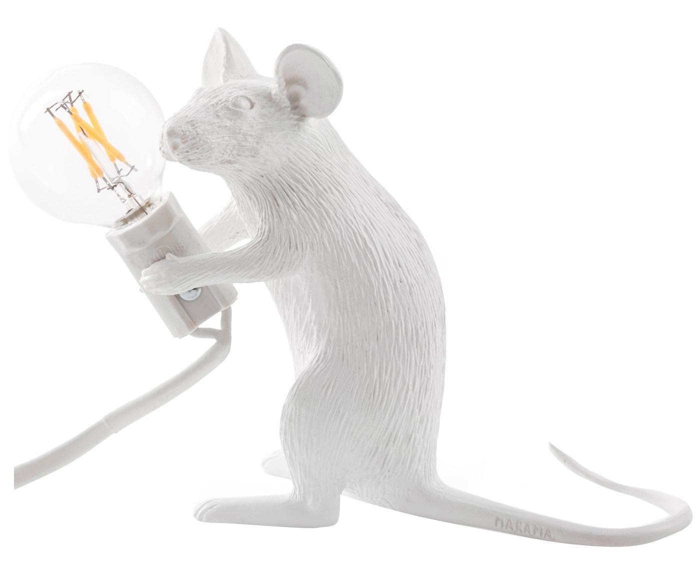 Design Tischleuchte Mouse, Kunstharz, Weiß, 5 x 13 cm