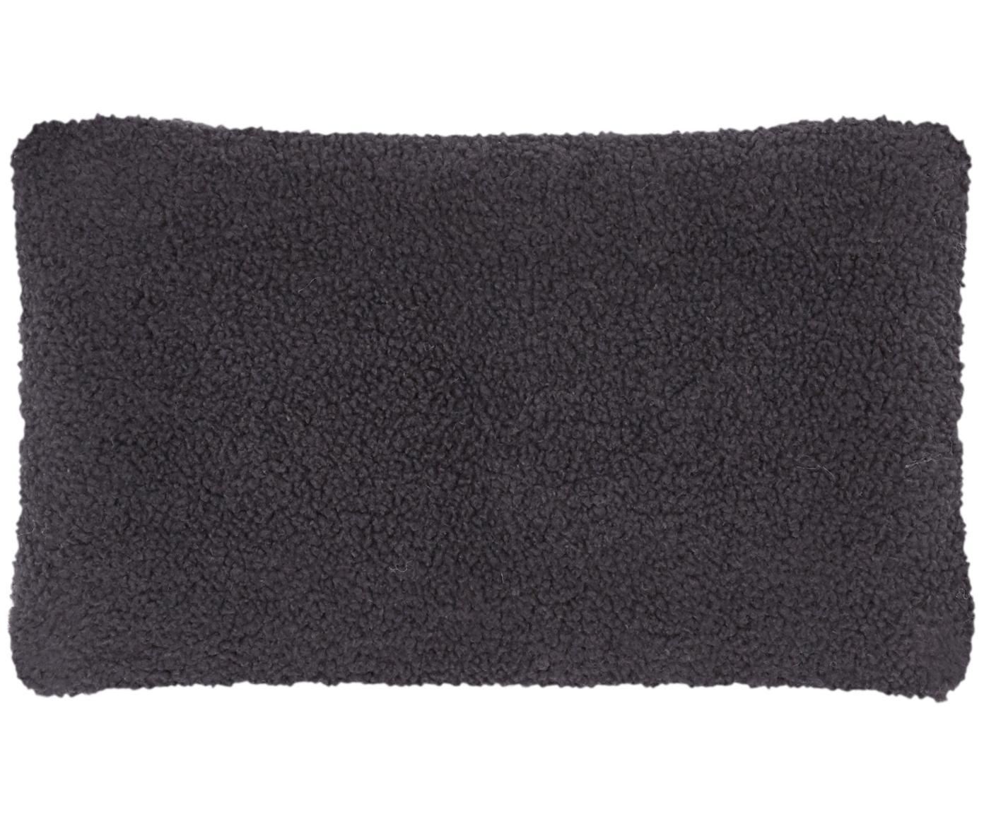 Funda de cojín de borreguillo Mille, Parte delantera: 100%poliéster (borreguil, Parte trasera: 100%poliéster (borreguil, Gris oscuro, An 30 x L 50 cm