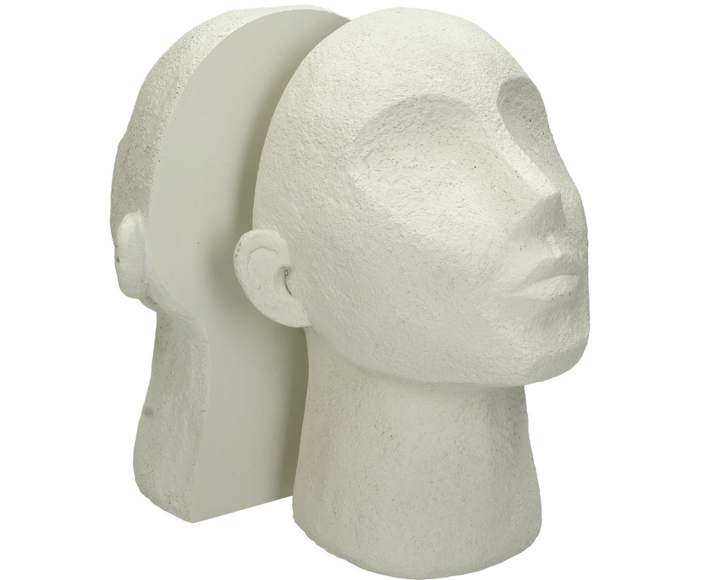 Fermalibri Testa 2 pz, Poliresina, Bianco latteo, Larg. 23 x Alt. 32 cm