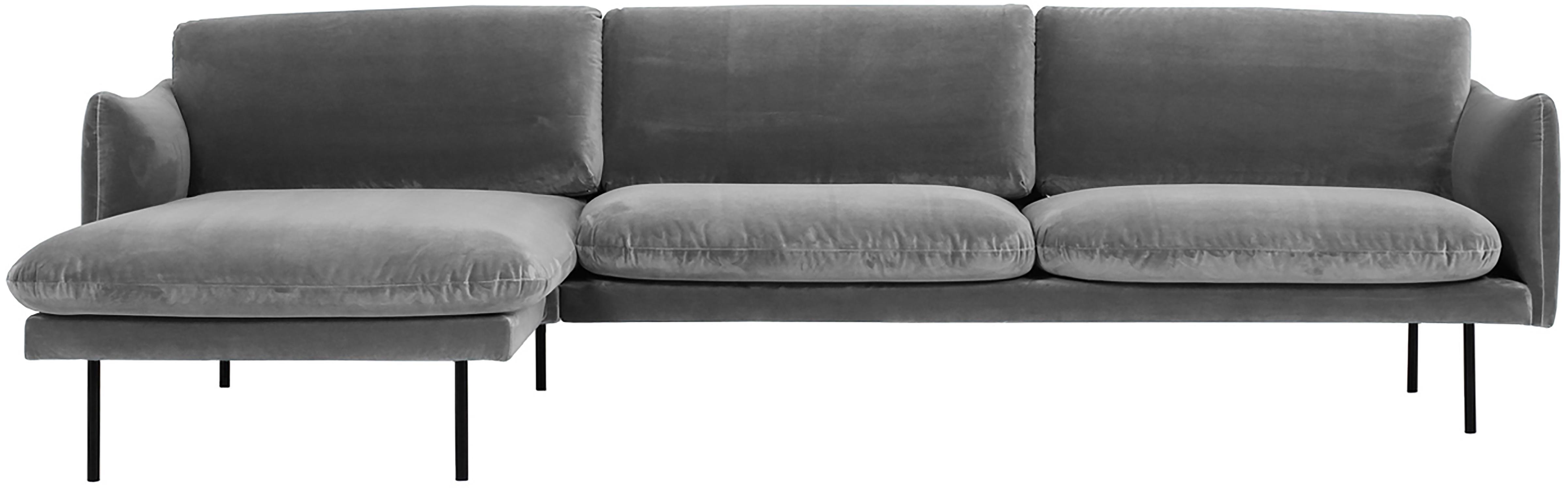 Divano angolare in velluto grigio Moby, Rivestimento: velluto (rivestimento in , Struttura: legno di pino massiccio, Piedini: metallo verniciato a polv, Velluto grigio, Larg. 280 x Prof. 160 cm