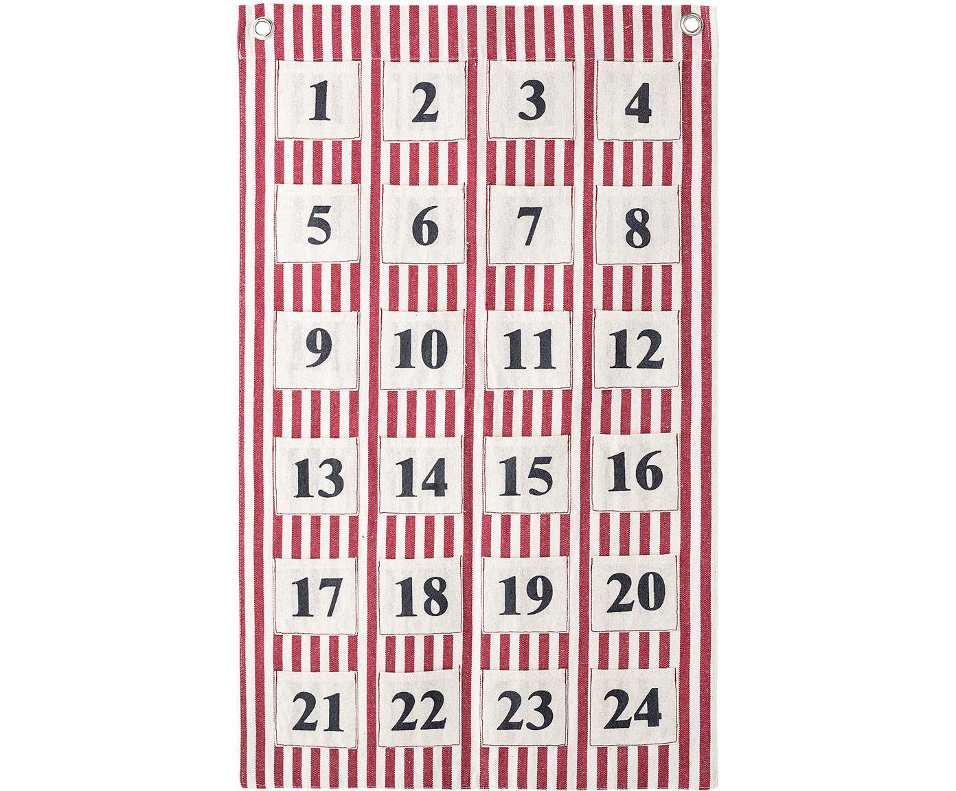 Calendario dell'Avvento Linas, Cotone, Rosso, bianco, nero, Larg. 20 x Alt. 35 cm