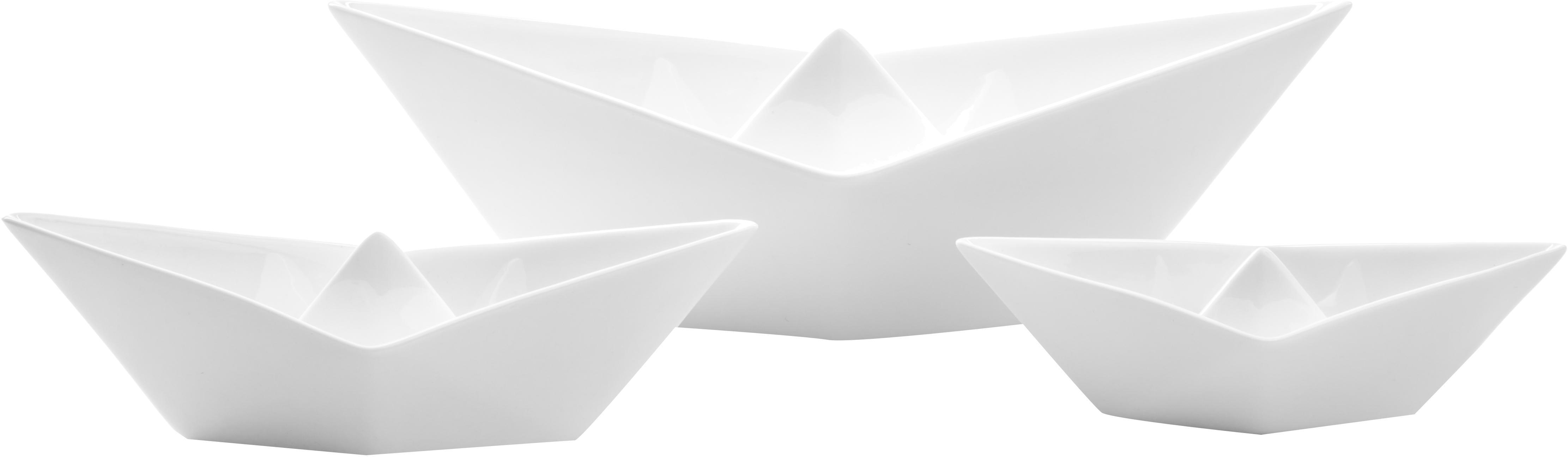 Decoratieve botenset My Boat, 3-delig, Porselein, Wit, Verschillende formaten