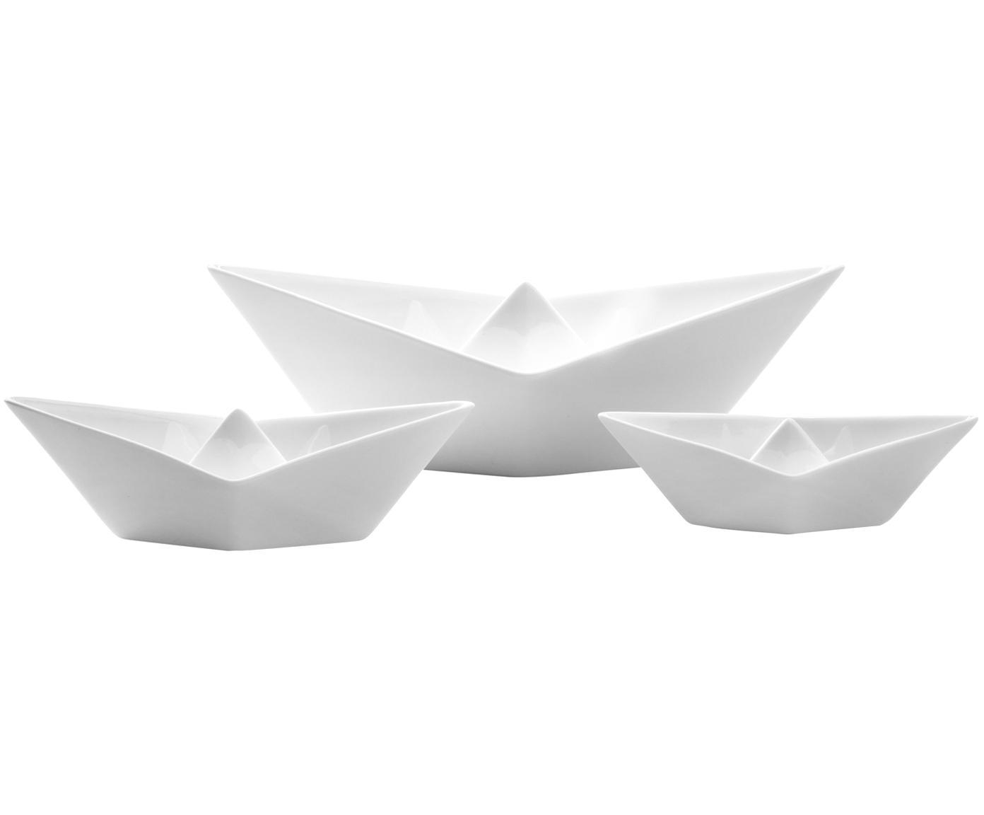 Set di 3 ciotole decorative My Boat, Porcellana, Bianco, Diverse dimensioni