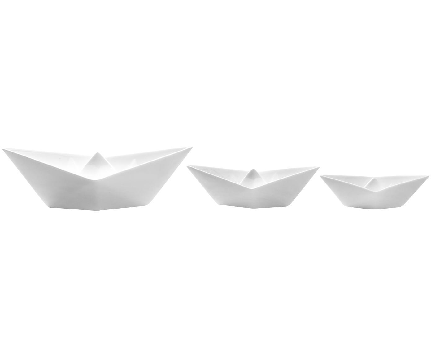 Komplet łódek dekoracyjnych My Boat, 3 elem., Porcelana, Biały, Różne rozmiary