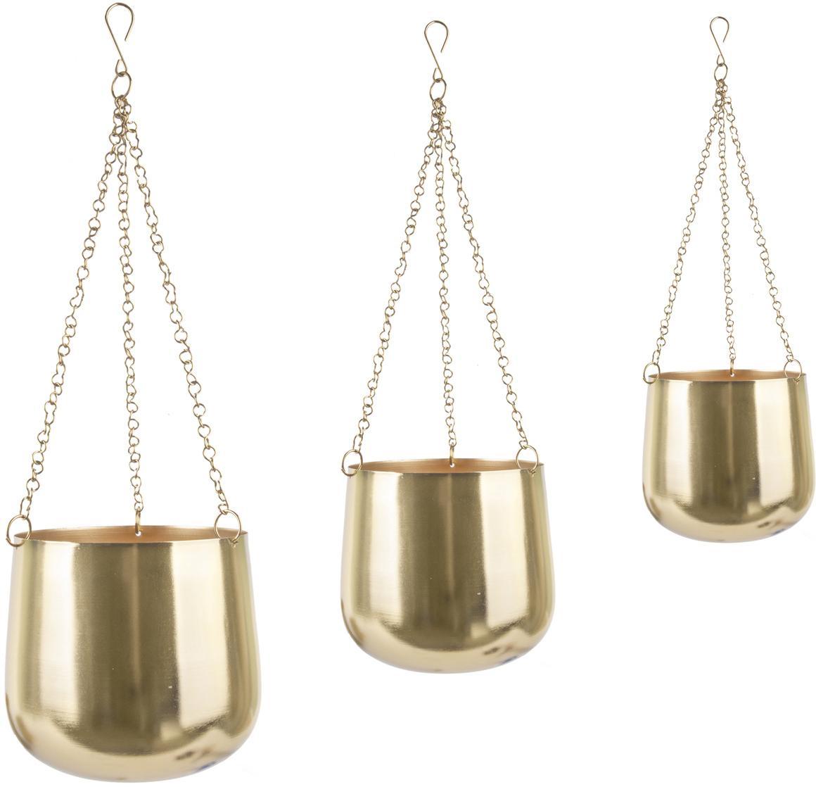 Set de maceteros colgantes de metal Cask, 3pzas., Metal pintado, Dorado, Set de diferentes tamaños