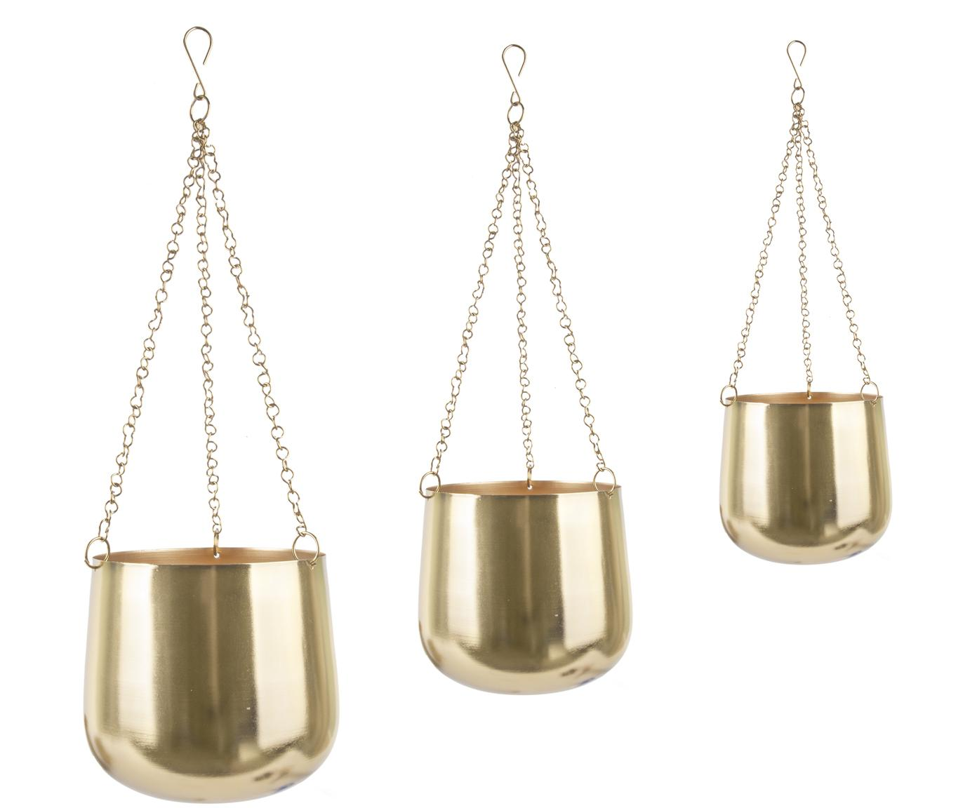 Blumenampel-Set Cask, 3-tlg., Metall, lackiert, Goldfarben, Sondergrößen