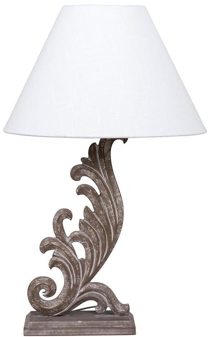 Lámpara de mesa Dennis, Base de la lámpara: fibras de densidad media , Pantalla: lino, Beige, An 25 x Al 80 cm
