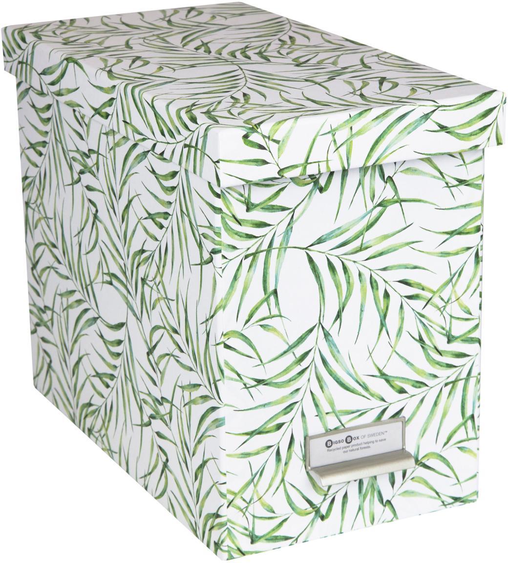 Hängeregister-Box Johan, 9-tlg., Organizer: Fester, laminierter Karto, Weiss, Grün, 19 x 27 cm