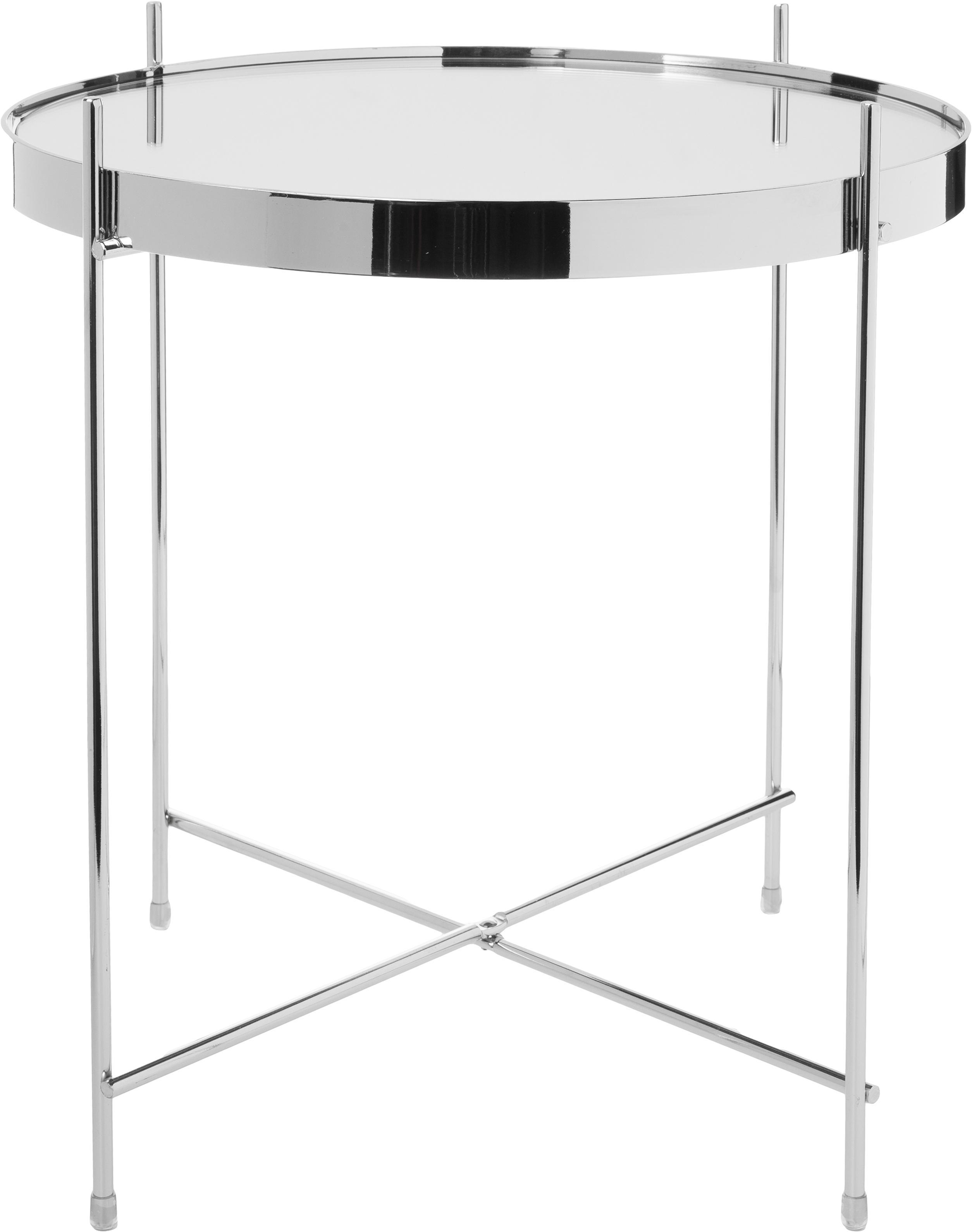 Mesa auxiliar con bandeja de cristal extraíble Cupid, Estructura: hierro, cromado, Tablero: vidrio laminado, Plata, Ø 43 x Al 45 cm
