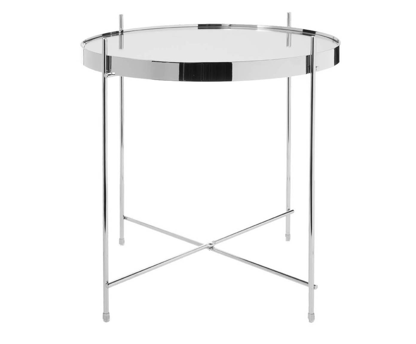 Tablett-Tisch Cupid mit Glasplatte, Gestell: Eisen, verchromt, Tischplatte: Sicherheitsglas, Silber, Ø 43 x H 45 cm