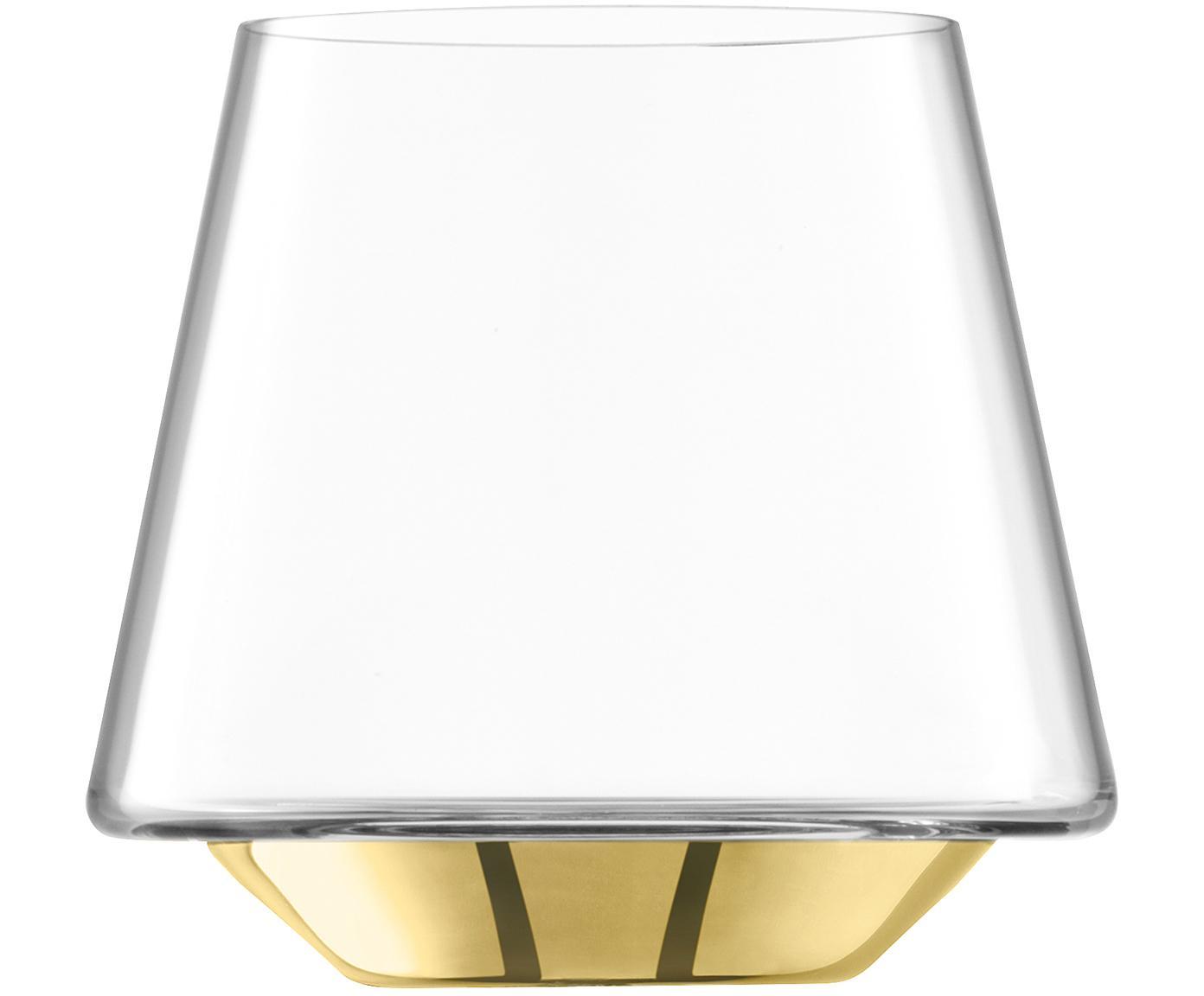 Mundgeblasene Wassergläser Space mit goldenem Boden, 2er-Set, Glas, Transparent, Goldfarben, Ø 10 x H 9 cm