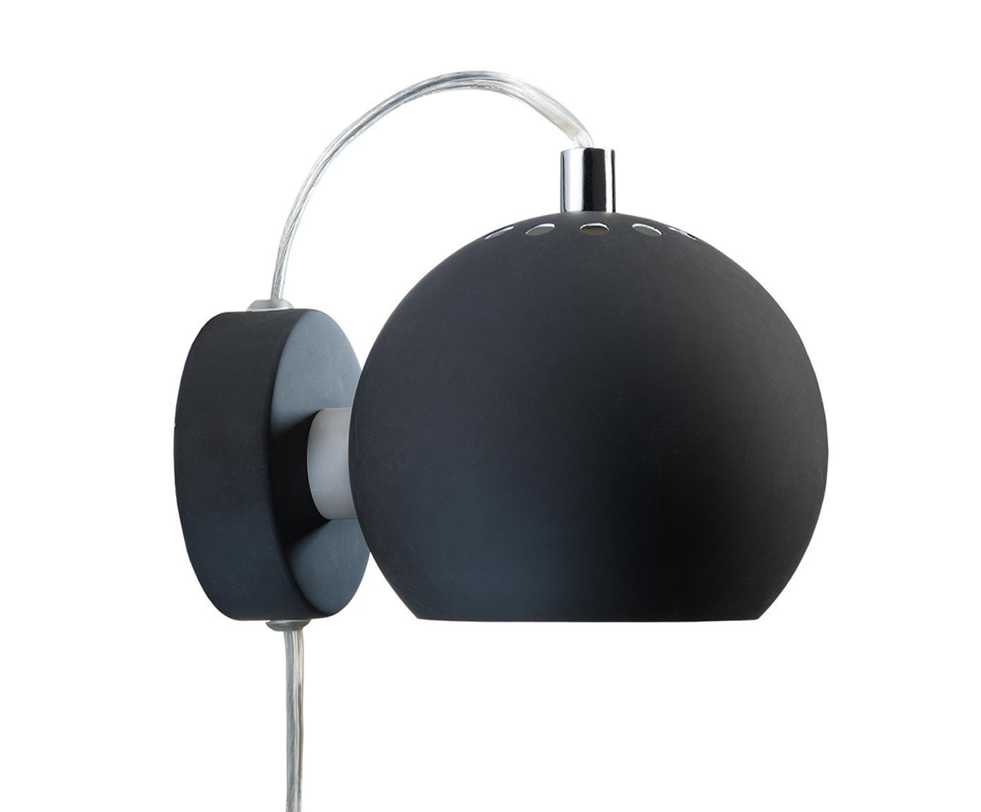 Wandlamp Ball met stekker, Gelakt metaal, Mat zwart, 12 x 12 cm