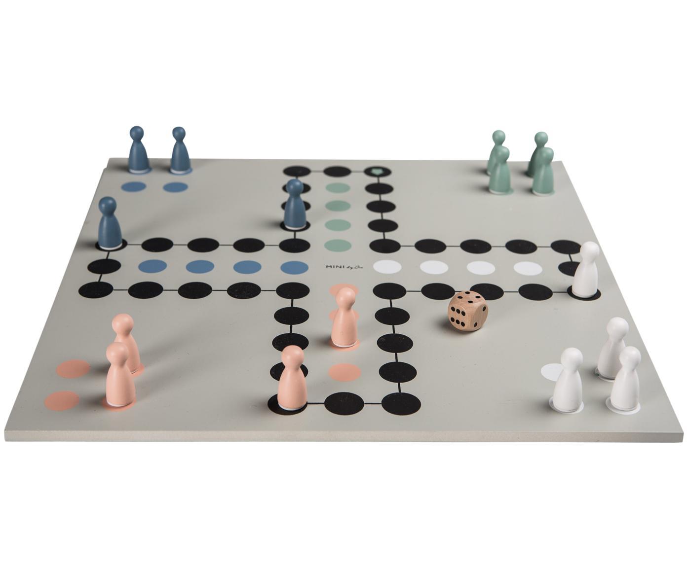 Gesellschaftsspiel Ludo Leona, Holz, lackiert, Grau, 30 x 30 cm