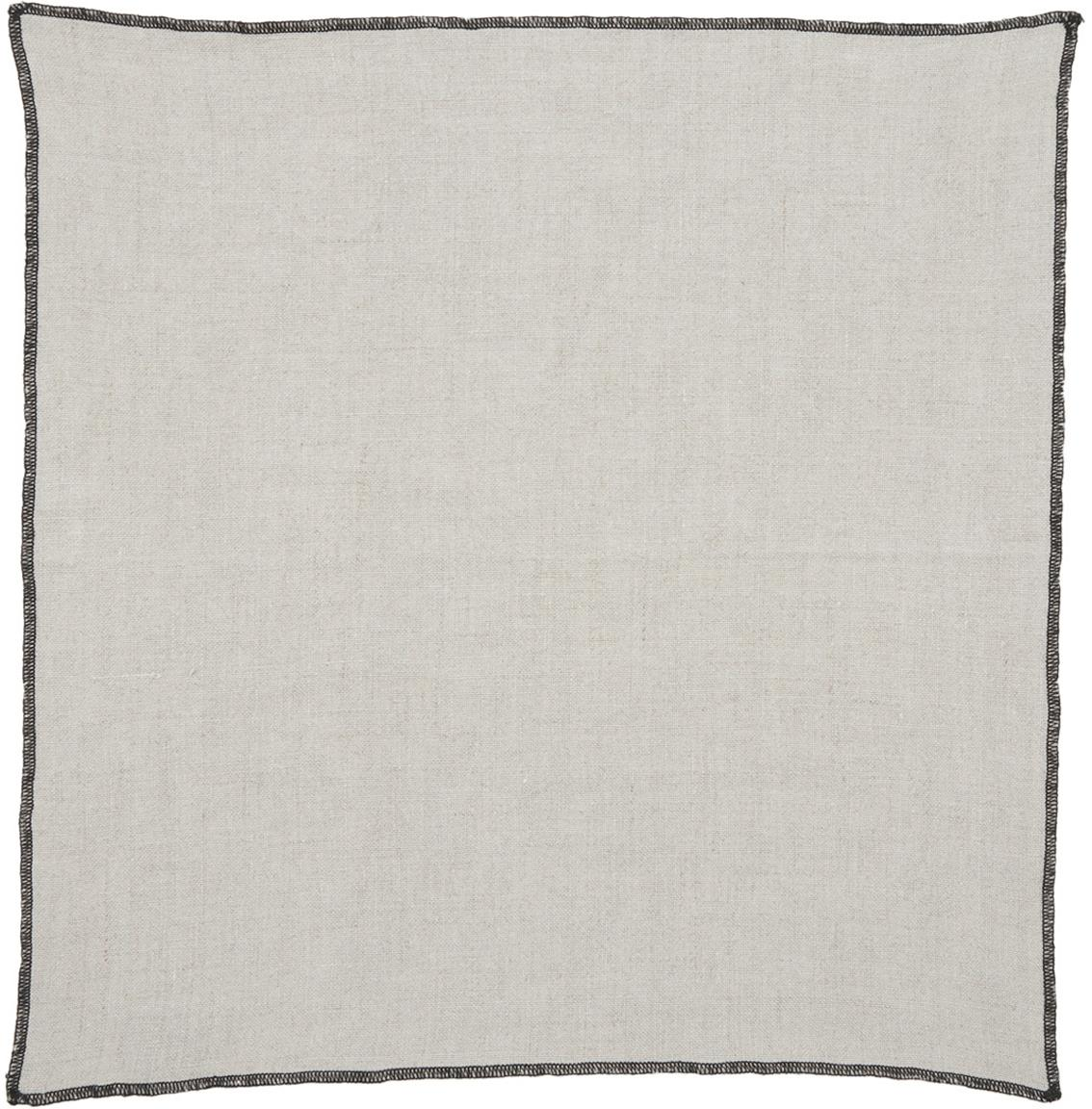 Leinen-Servietten Letia, 2 Stück, Leinen, Beige, Schwarz, 41 x 41 cm