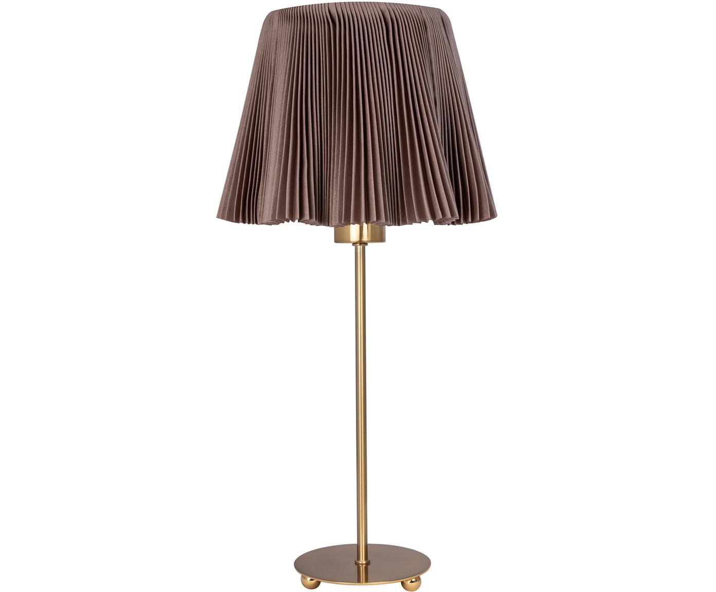 Tischleuchte Edith aus Faltenstoff, Baumwolle, Metall, Braun, Messingfarben, Ø 20 x H 50 cm