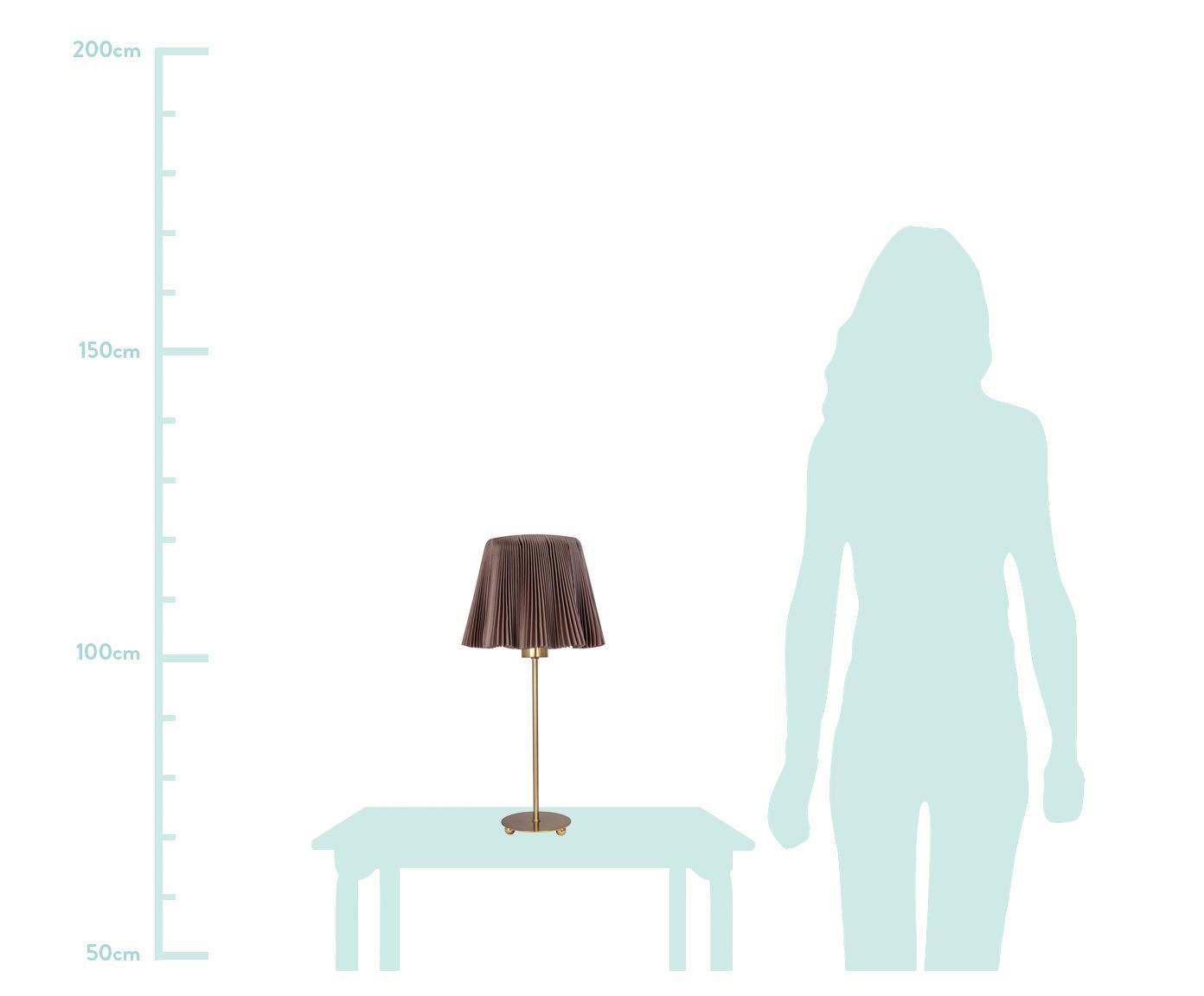 Stolní lampa z plisované látky Edith, Hnědá, mosazná