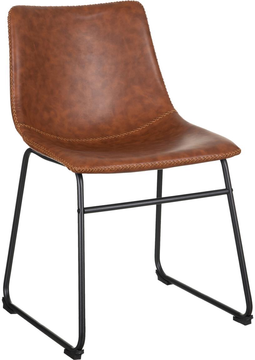 Silla tapizada en cuero sintético Almeria, Asiento: poliuretano, Estructura: metal pintado, Marrón, negro, An 54 x F 48 cm