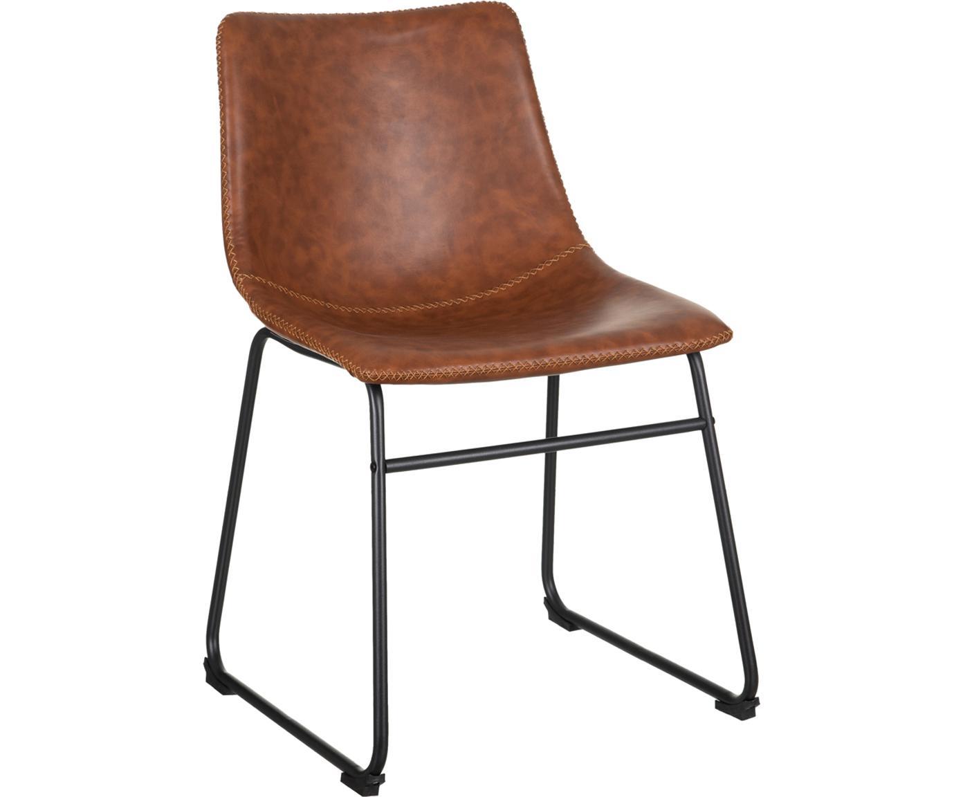 Krzesło tapicerowane ze sztucznej skóry Almeria, Poliuretan, metal, Brązowy, czarny, S 54 x G 48 cm