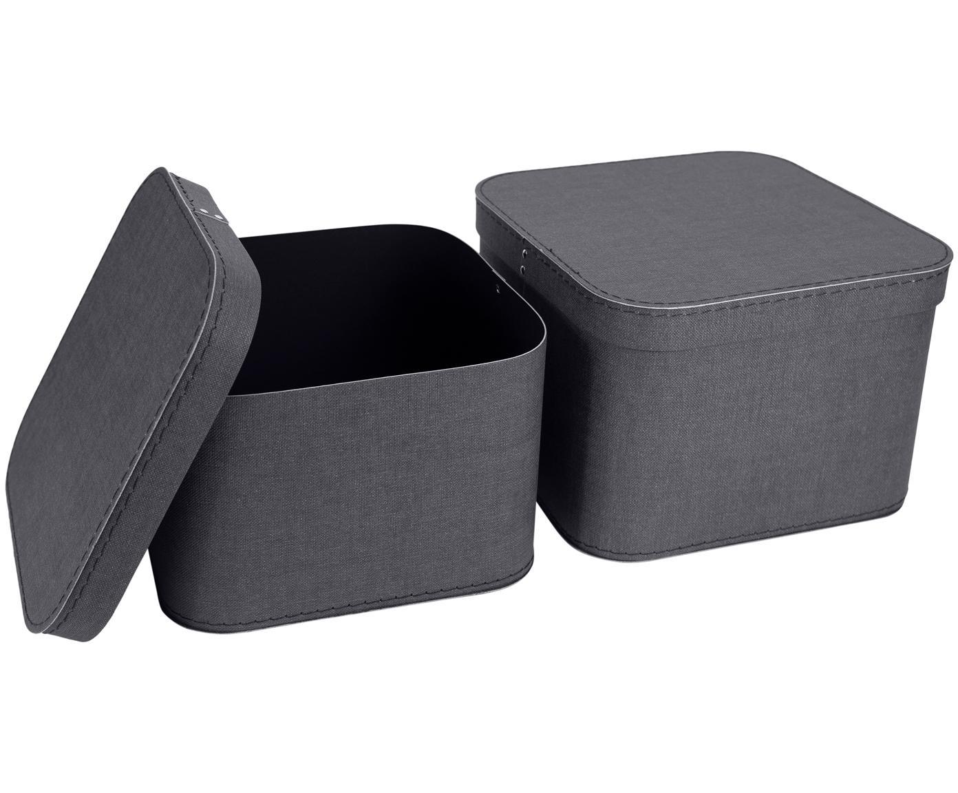 Komplet pudełek do przechowywania Ludvig, 2 elem., Tektura laminowana, Antracytowy, Różne rozmiary