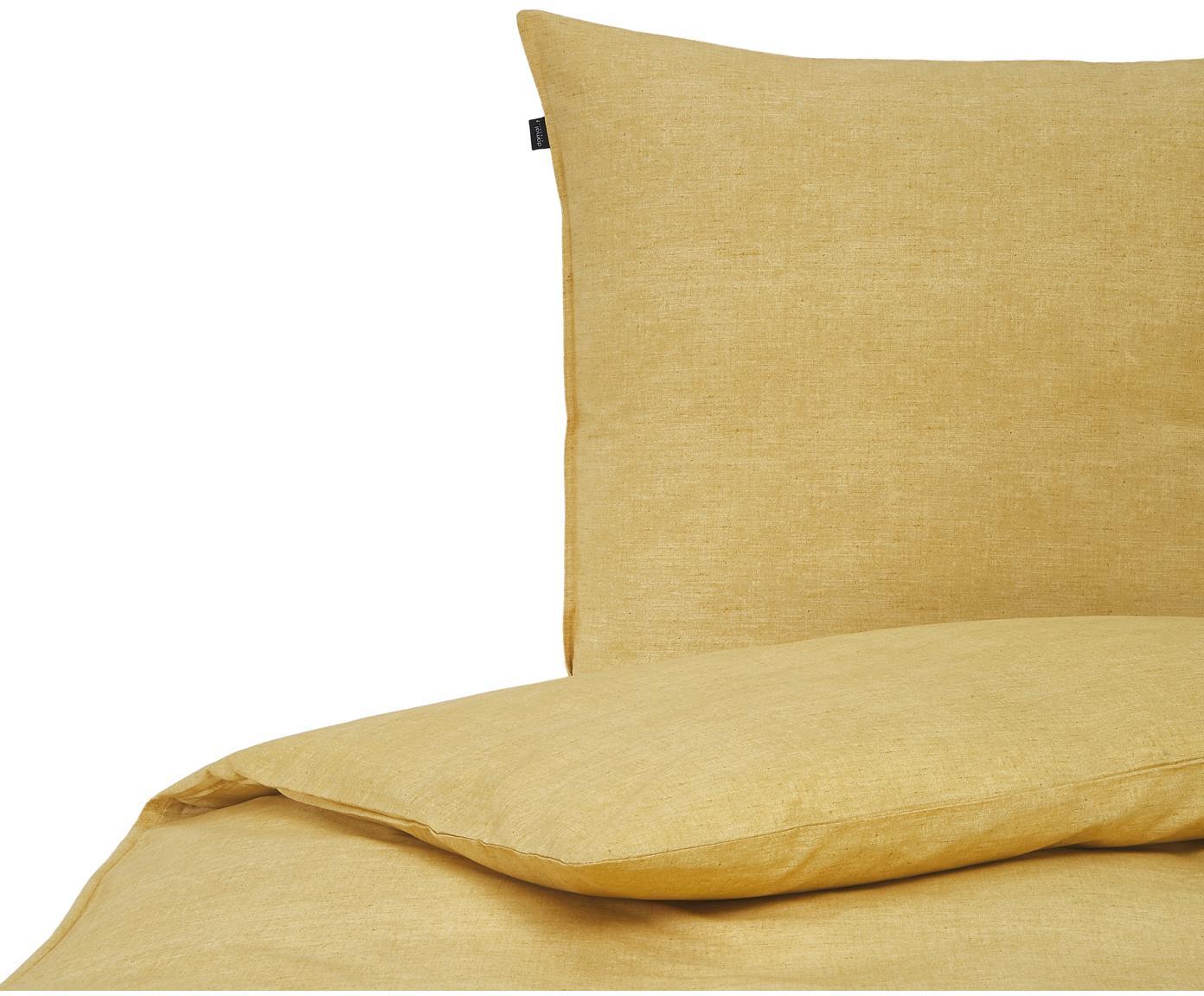Bettwäsche Raja in Ockergelb aus Bio-Baumwolle, 100% Bio-Baumwolle Bettwäsche aus Baumwolle fühlt sich auf der Haut angenehm weich an, nimmt Feuchtigkeit gut auf und eignet sich für Allergiker., Ockergelb, 135 x 200 cm + 1 Kissen 80 x 80 cm