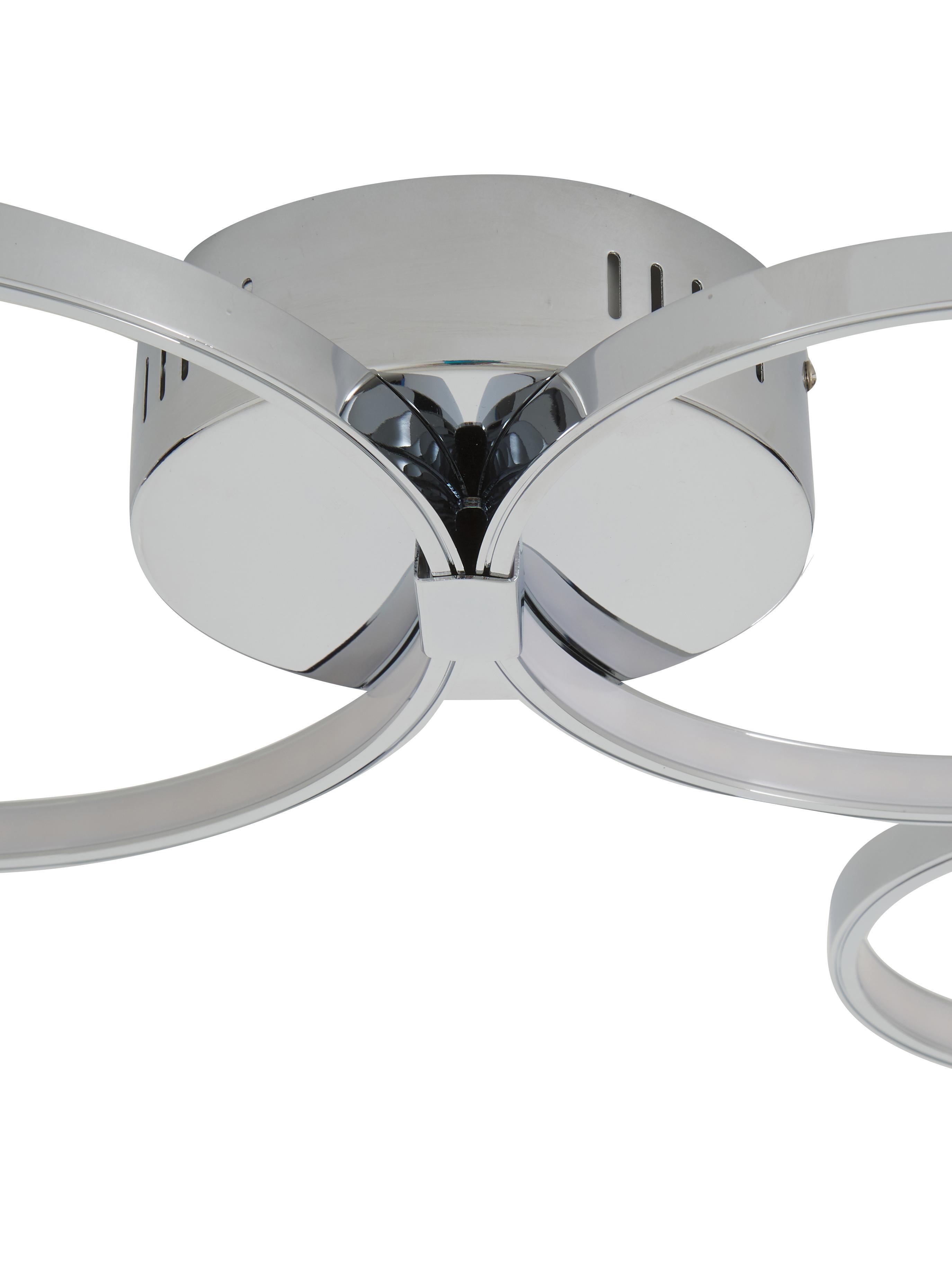 LED Deckenleuchte Solexa, Metall, verchromt, Chrom, 75 x 7 cm