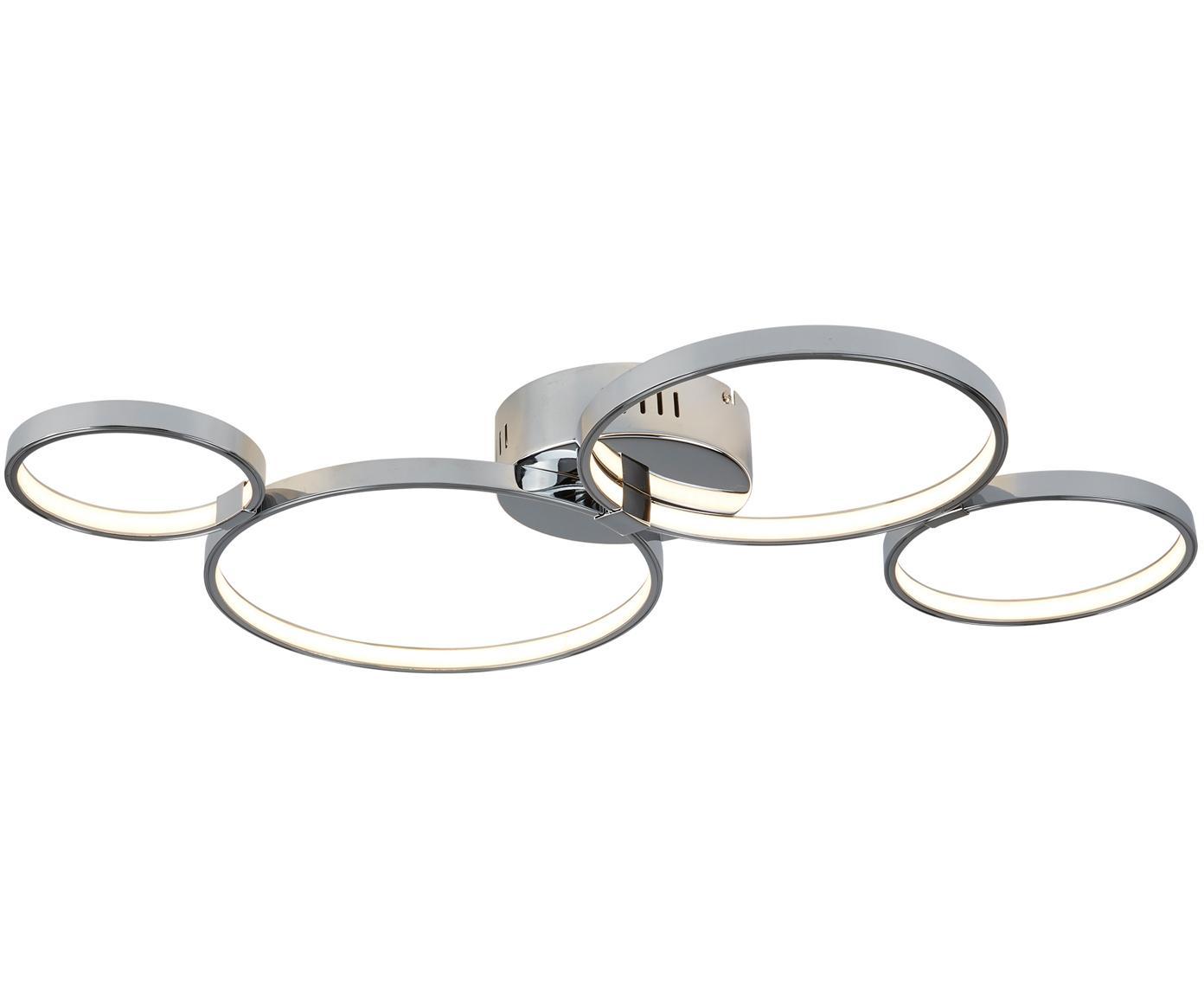 LED plafondlamp Solexa, Verchroomd metaal, Chroomkleurig, 75 x 7 cm