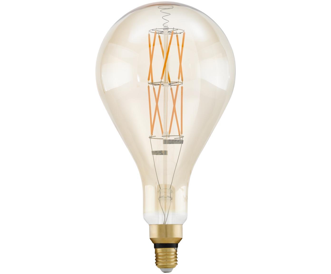 Bombilla LED grande Crisscross (E27/8W), Ampolla: vidrio, Casquillo: aluminio, Transparente, ámbar, Ø 16 x Al 30 cm