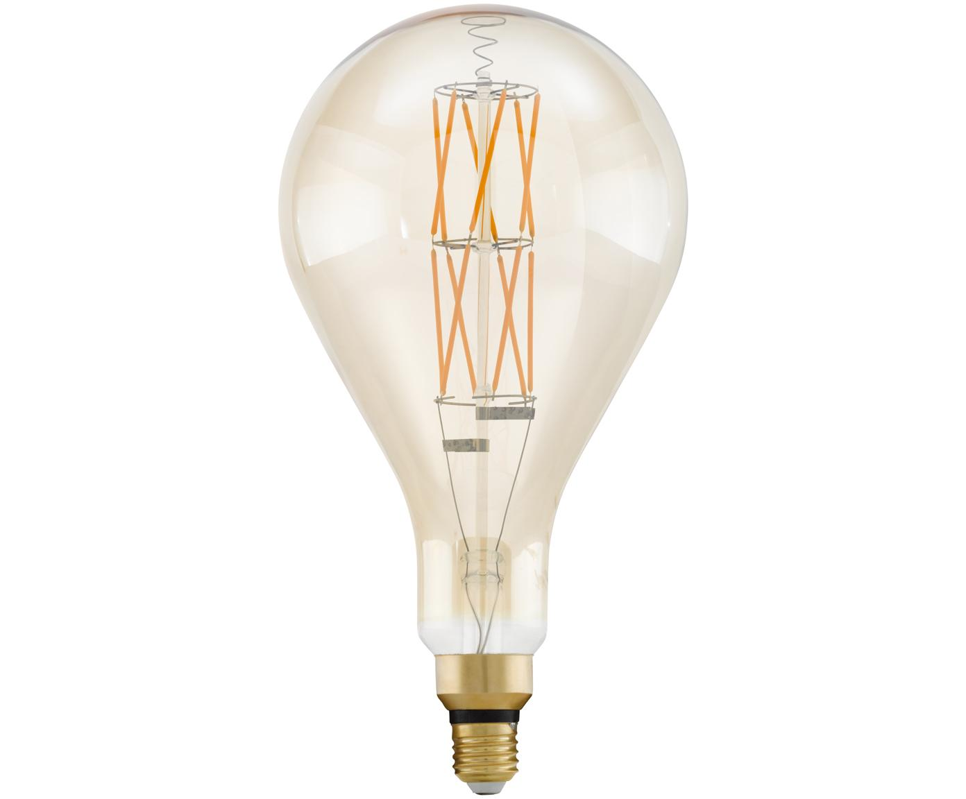 XL LED lamp Crisscross (E27 / 8W), Peertje: glas, Fitting: aluminium, Transparant, amberkleurig, Ø 16 x H 30 cm