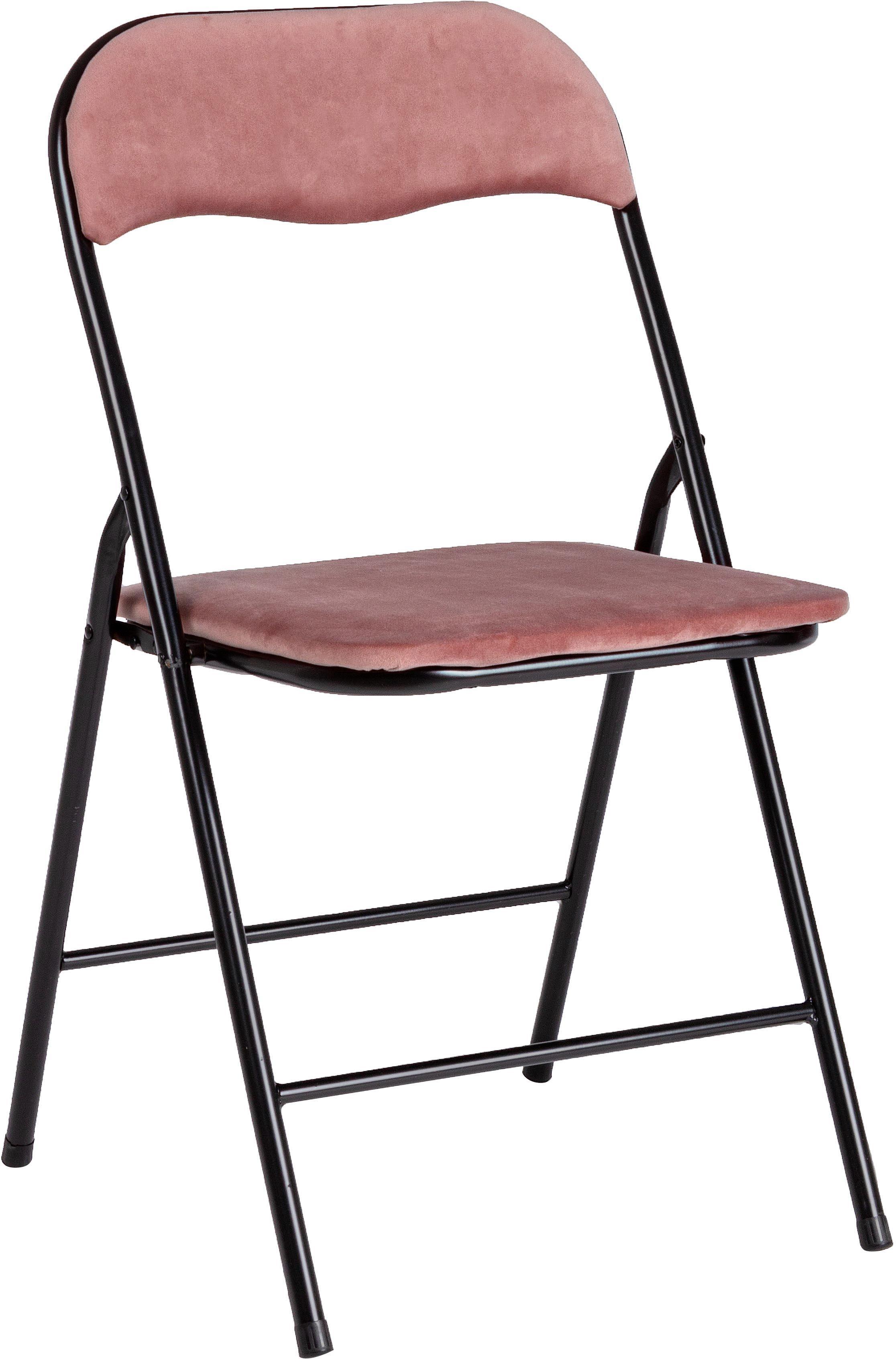 Sedia pieghevole in velluto Amal, Rivestimento: velluto di poliestere, Struttura: metallo verniciato a polv, Rosa, nero, Larg. 44 x Prof. 44 cm