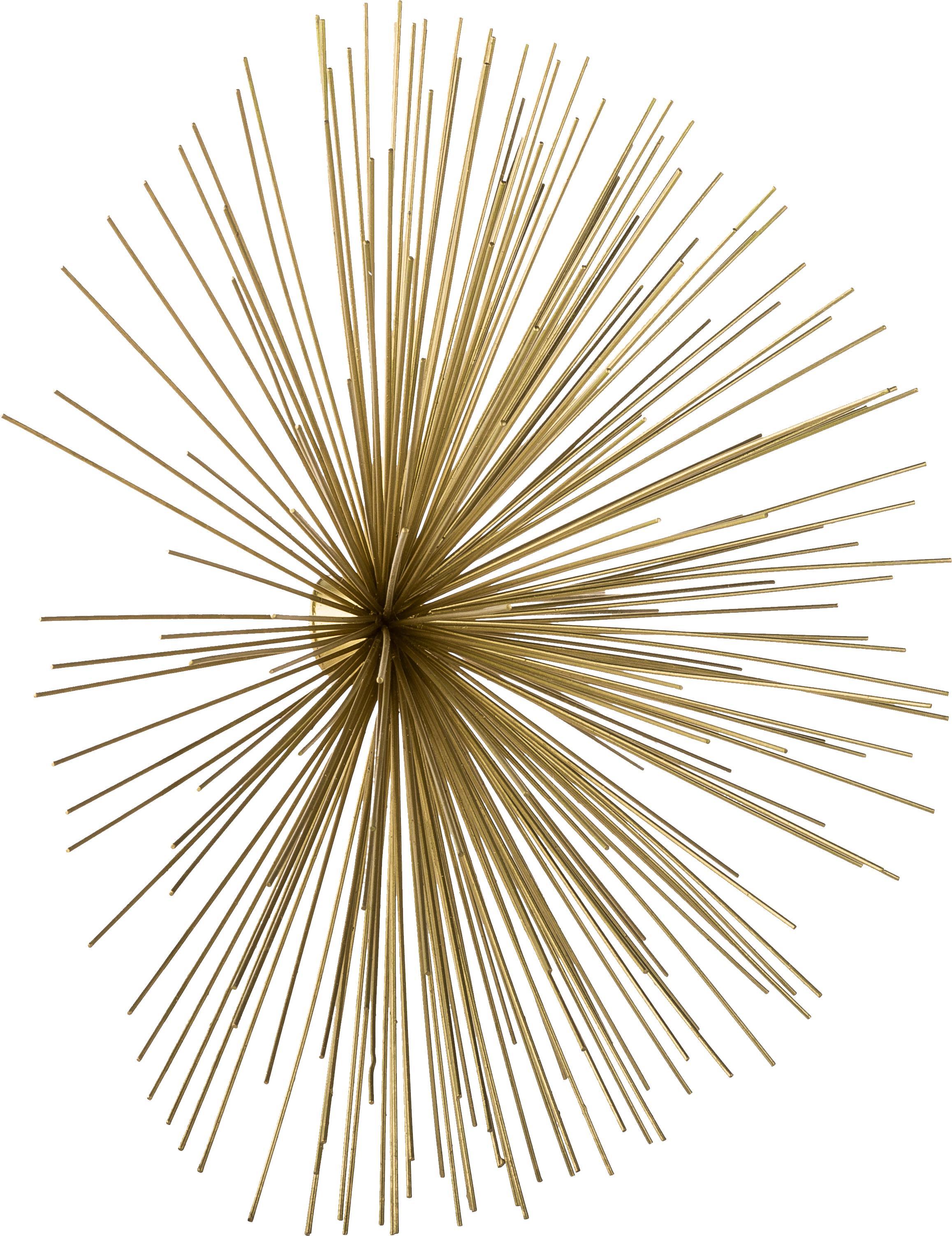 Wandobjekt-Set Ray aus Metall, 3-tlg., Metall, Goldfarben, Sondergrößen
