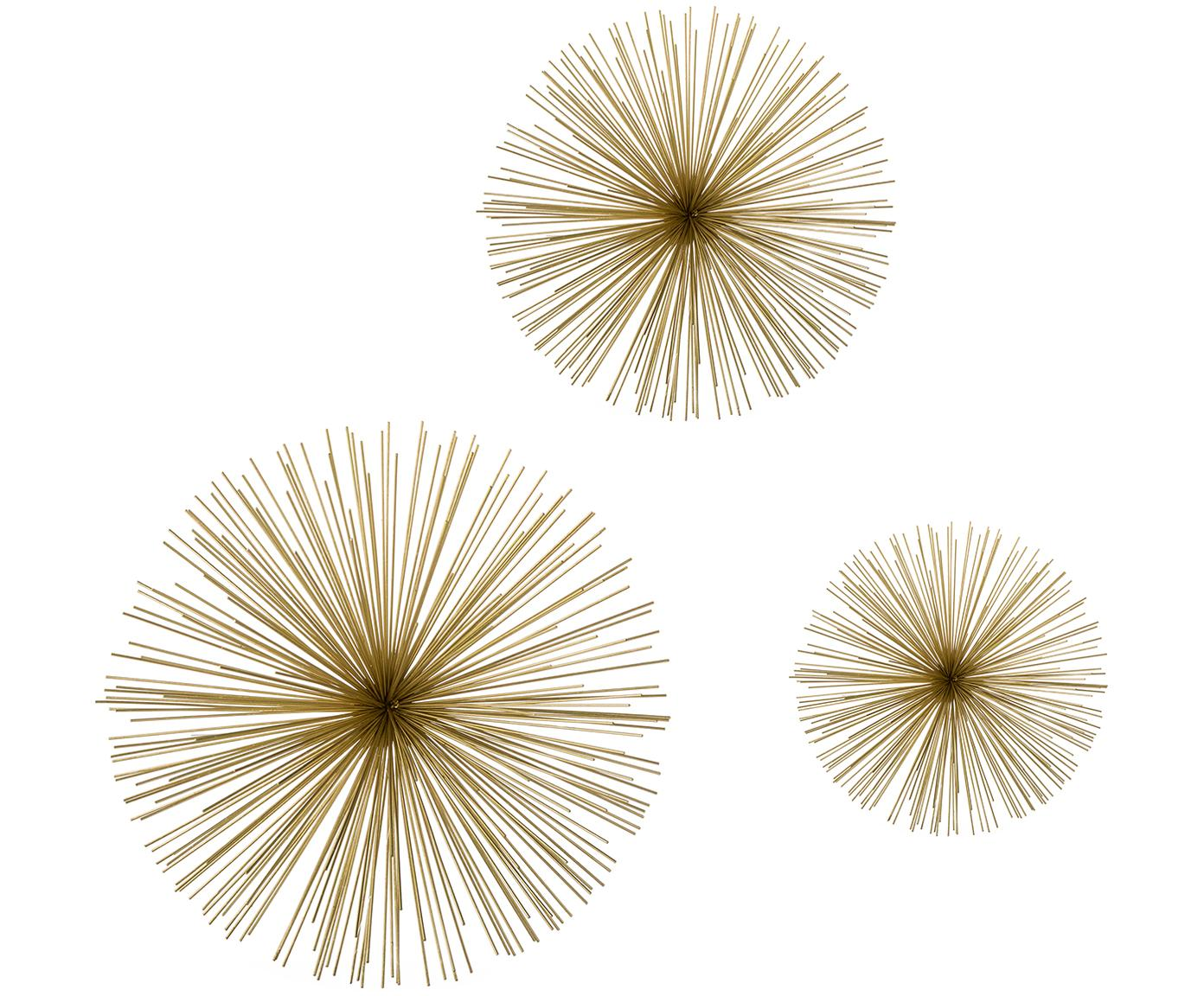 Komplet dekoracji ściennych z metalu Ray, 3 elem., Metal, Odcienie złotego, Różne rozmiary