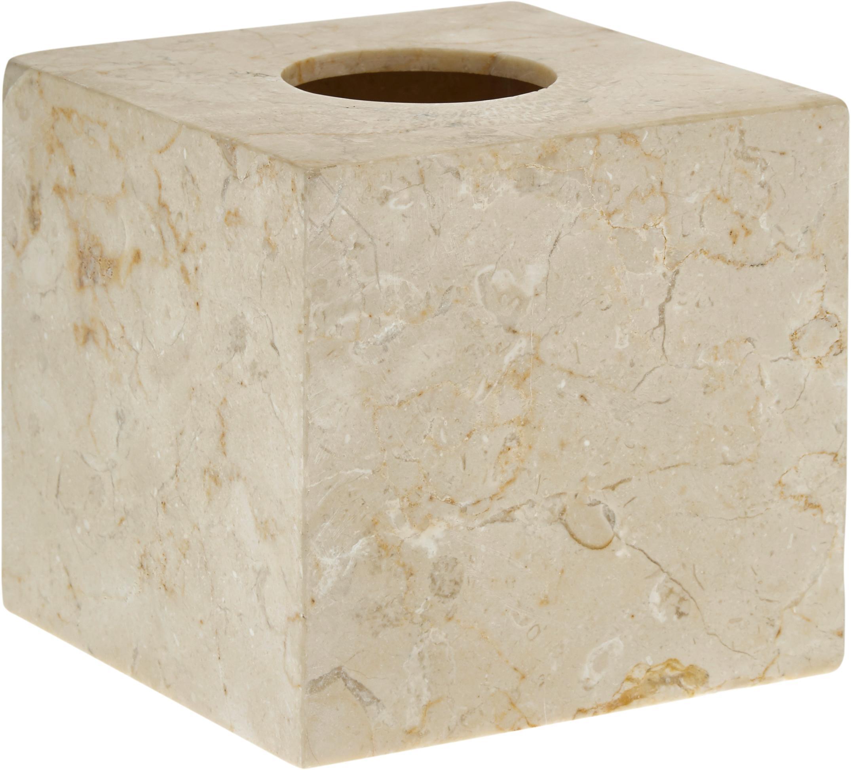 Marmor-Kosmetiktuchbox Luxor, Marmor, Beige, 13 x 13 cm
