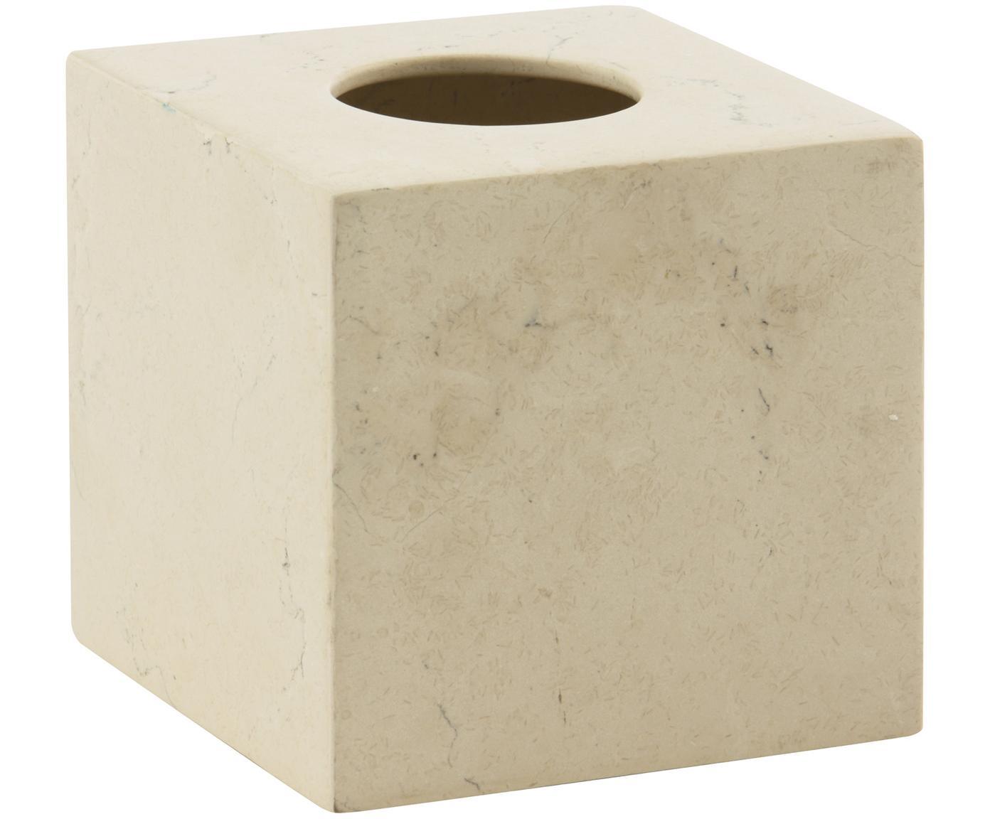 Marmeren tissuebox Luxor, Marmer, Beige, 13 x 13 cm