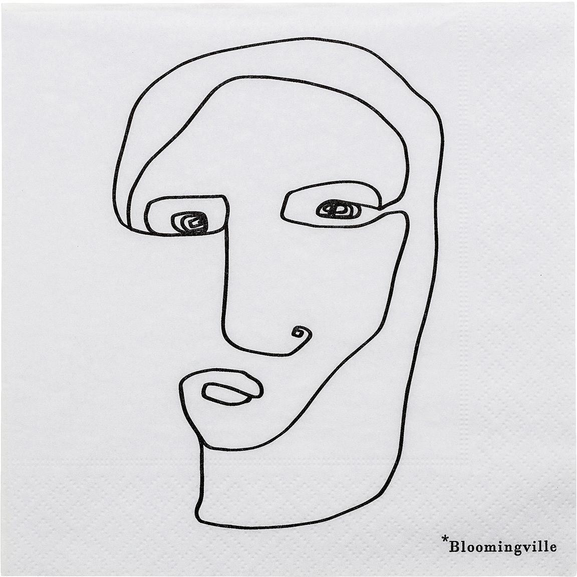 Papier-Servietten Visage, 20 Stück, Papier, Weiß, Schwarz, 33 x 33 cm
