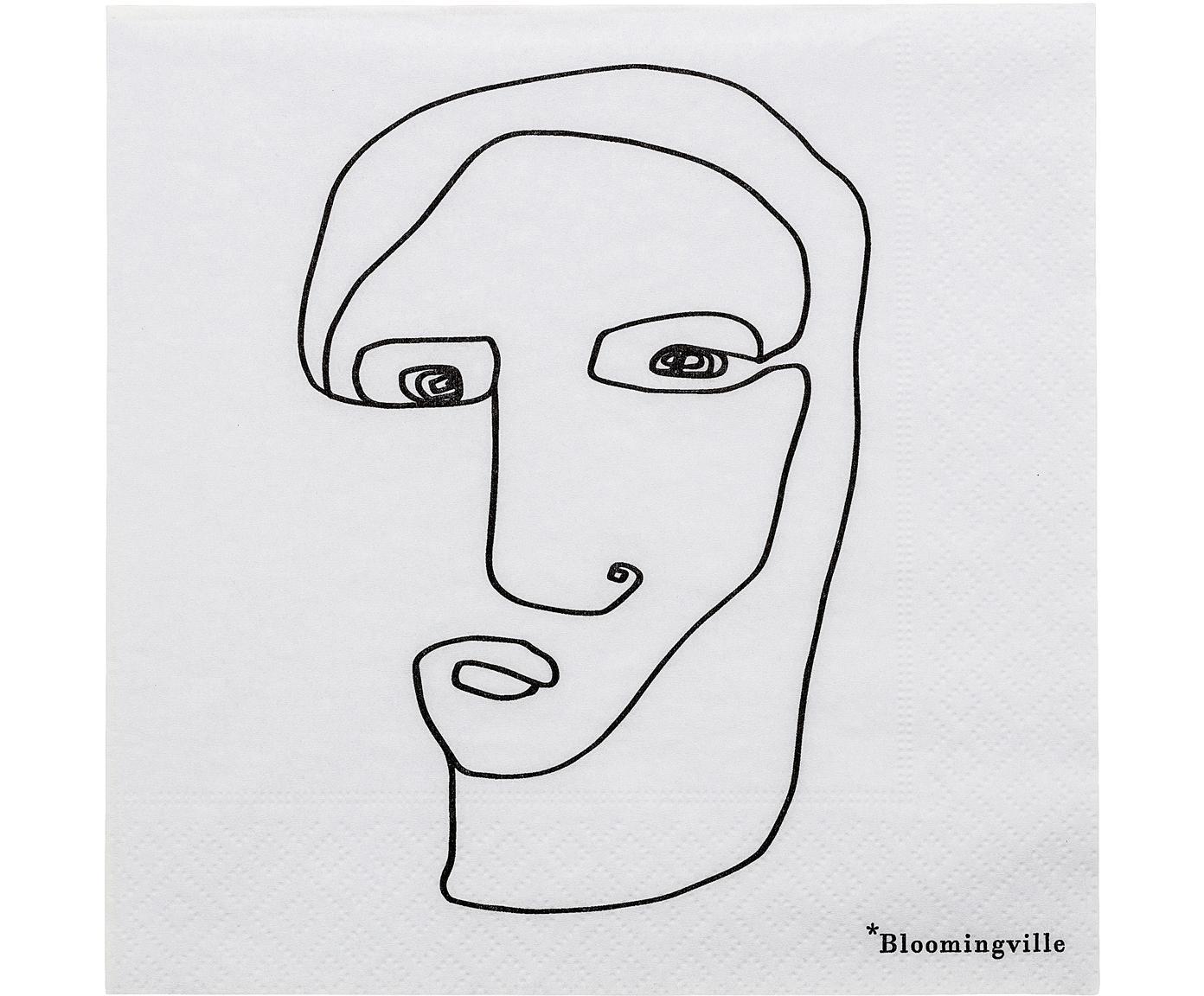 Papier-Servietten Visage, 20 Stück, Papier, Weiss, Schwarz, 33 x 33 cm
