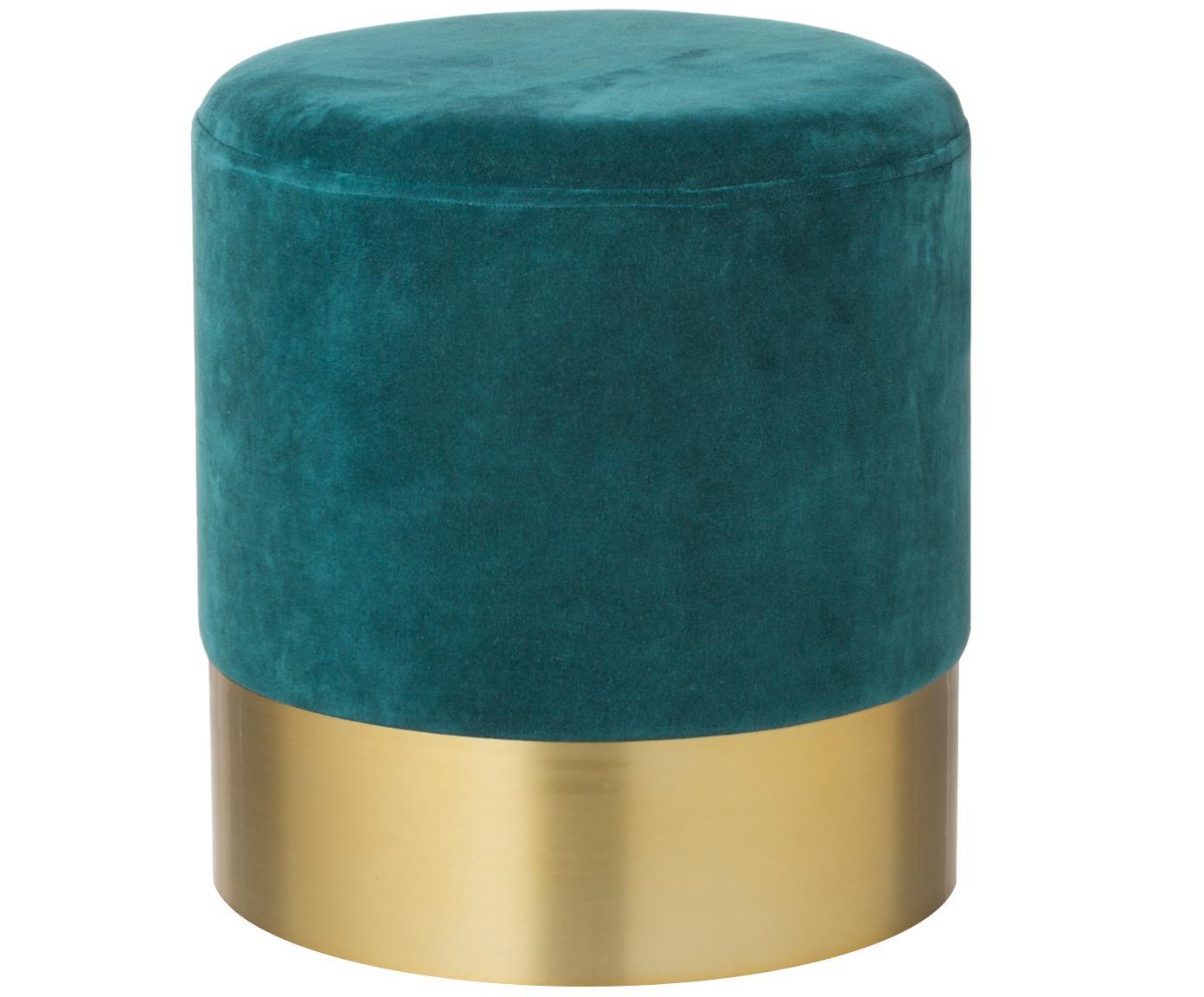 Samt-Hocker Harlow, Bezug: Baumwollsamt, Petrol, Goldfarben, Ø 38 x H 42 cm