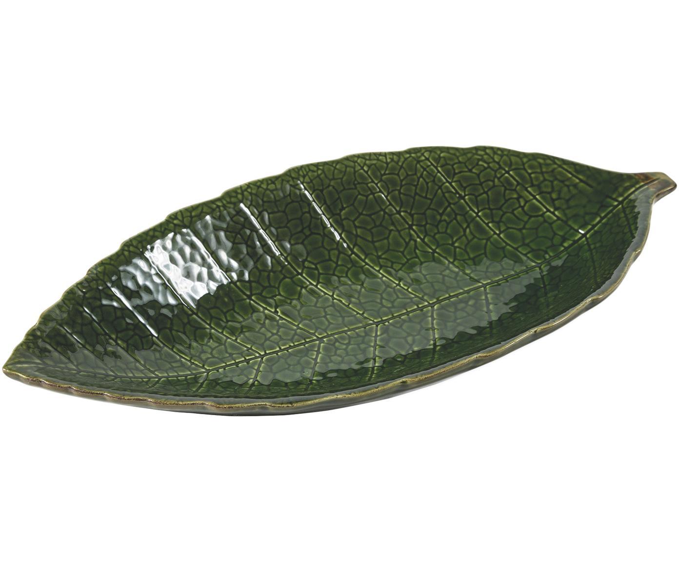 Serveerschaal Amazzonia in bladvorm, Dolomiet, Groen, B 34 x D 16 cm