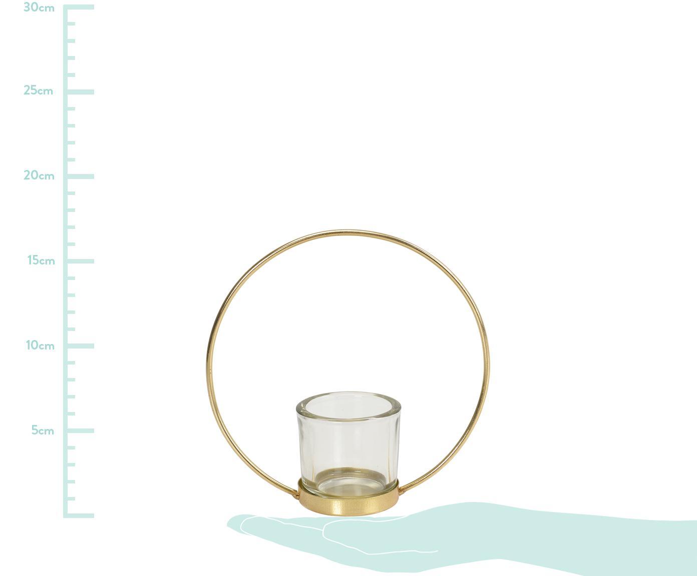 Teelichthalter Borro, Gestell: Metall, beschichtet, Goldfarben, Transparent, 17 x 17 cm