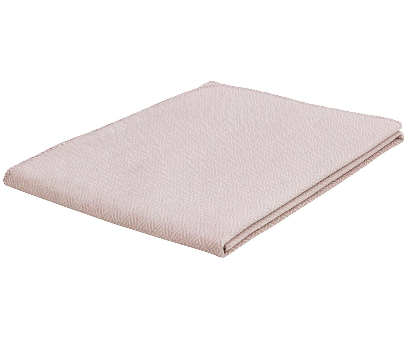 Dubbelzijdige plaid  Contrast, 50% Katoen, 43% Dralon, 7% Polyester, Voorkant: Roze, gebroken wit, 150 x 200 cm