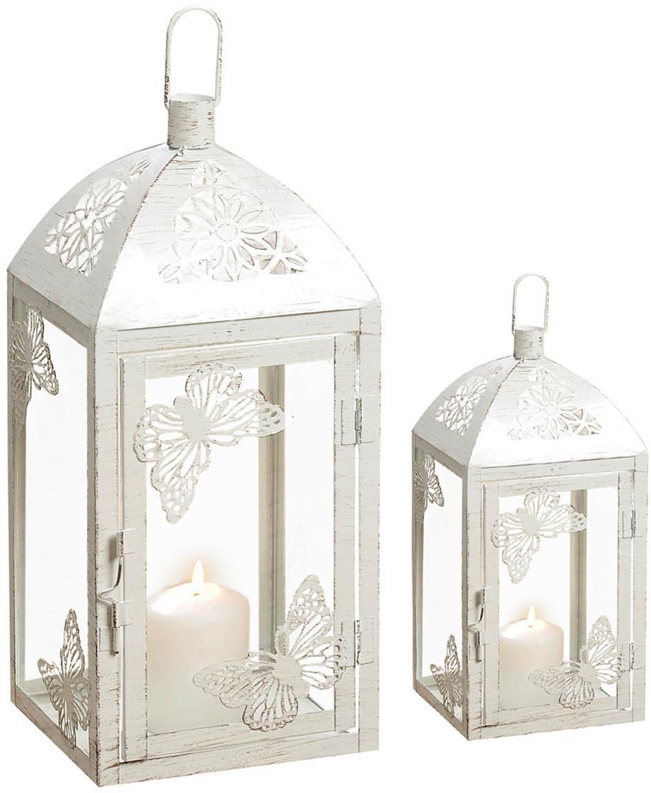Set 2 lanterne Peer, Metallo verniciato a polvere, vetro, Bianco, effetto vintage, Set in varie misure