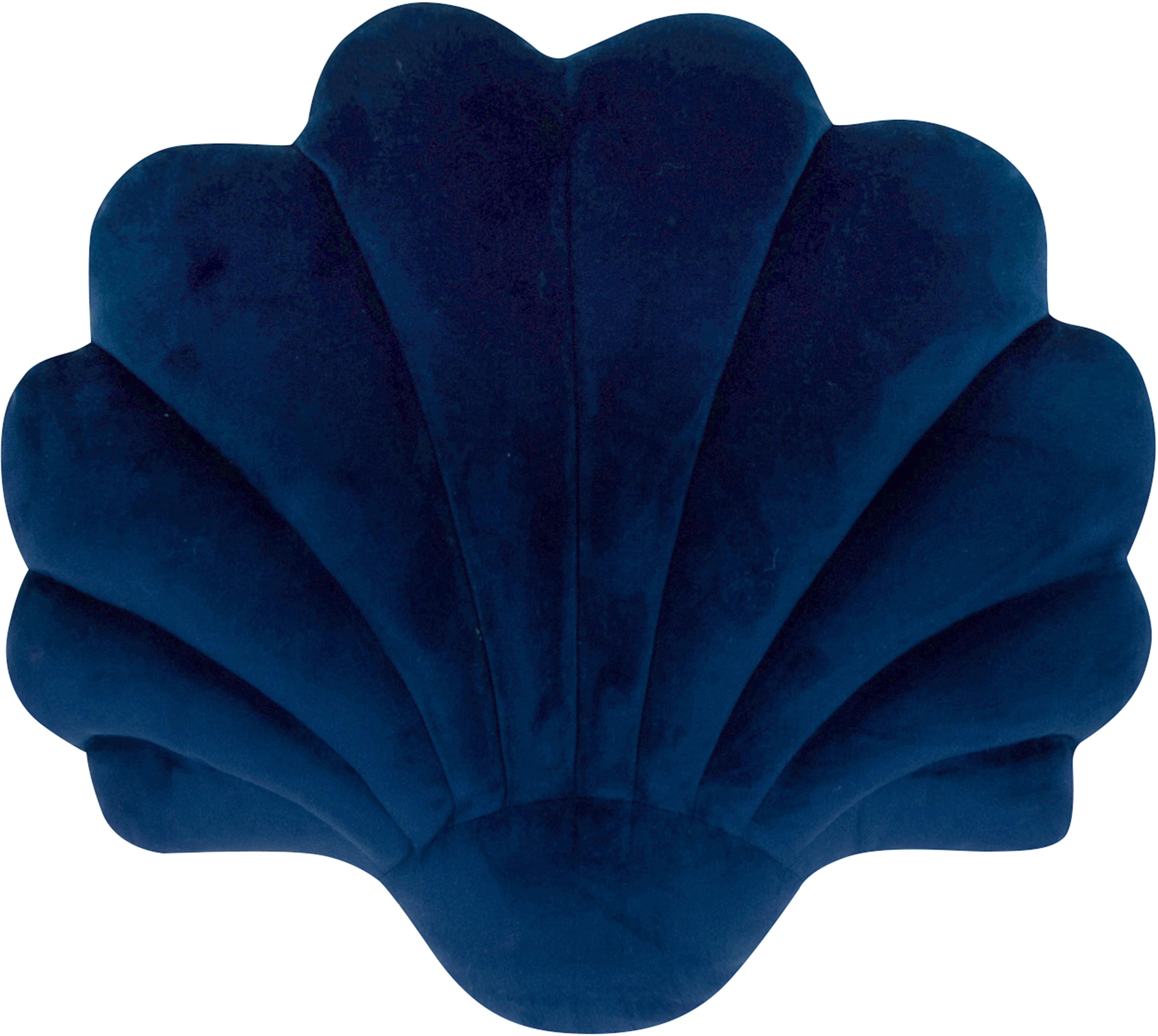 Samtkissen Shell, Vorderseite: 100% Polyestersamt, Rückseite: 100% Baumwolle, Dunkelblau, 28 x 30 cm