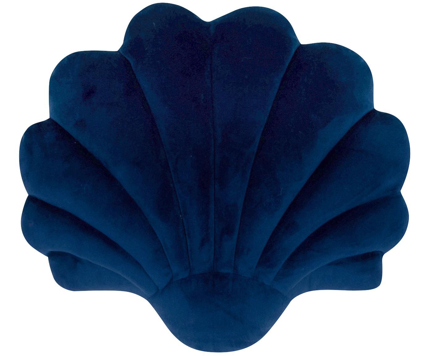 Cojín de terciopelo Shel, con relleno, Parte delantera: 100%terciopelo de algodó, Parte trasera: 100%algodón, Azul oscuro, An 28 x L 30 cm