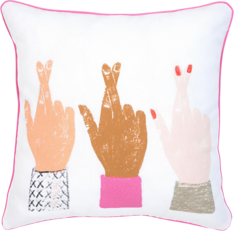 Federa arredo design Kera Till Hands, Cotone, Bianco, multicolore, Larg. 40 x Lung. 40 cm