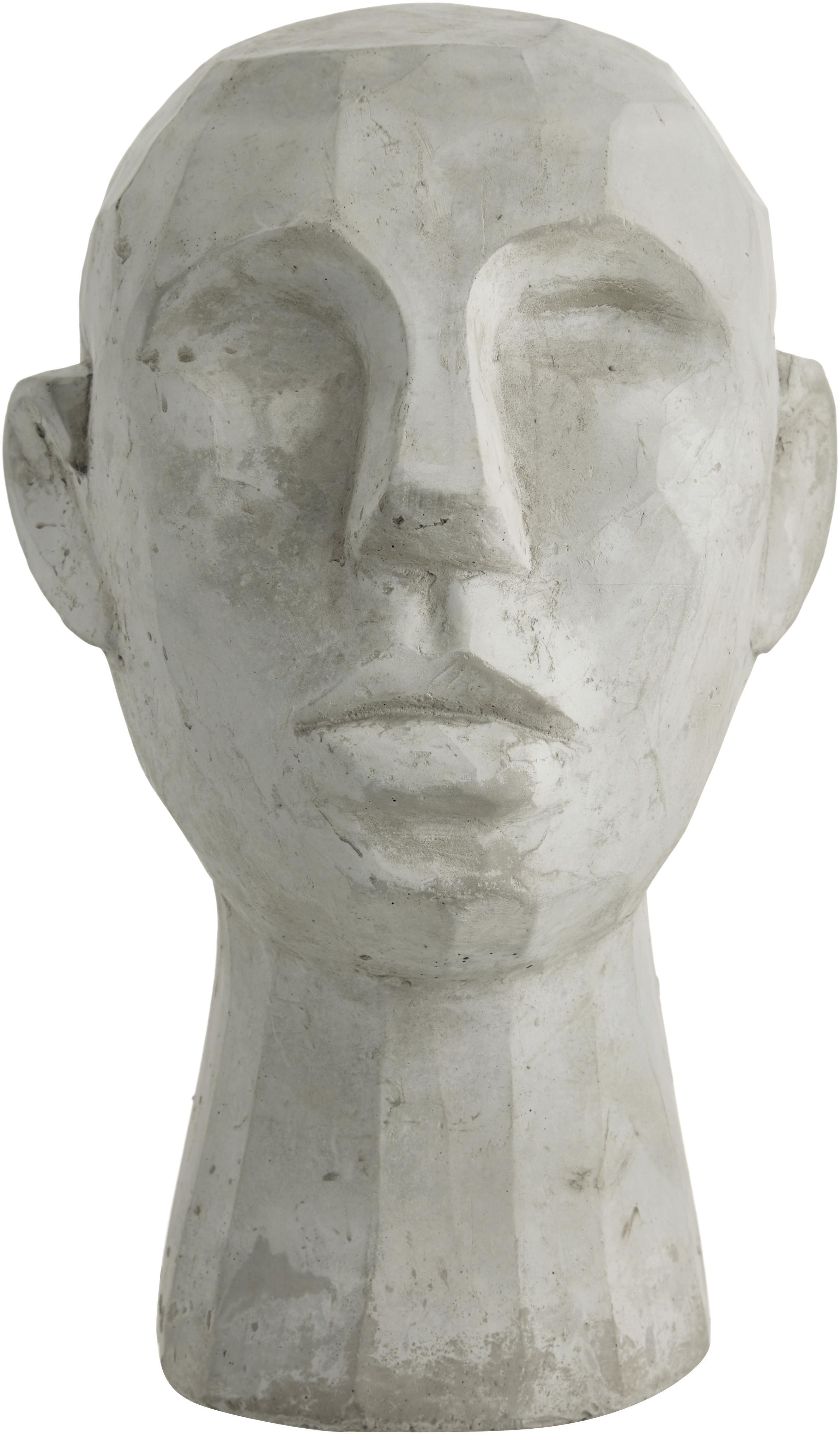 Deko-Objekt Kopf, Zement, Grau, 20 x 30 cm