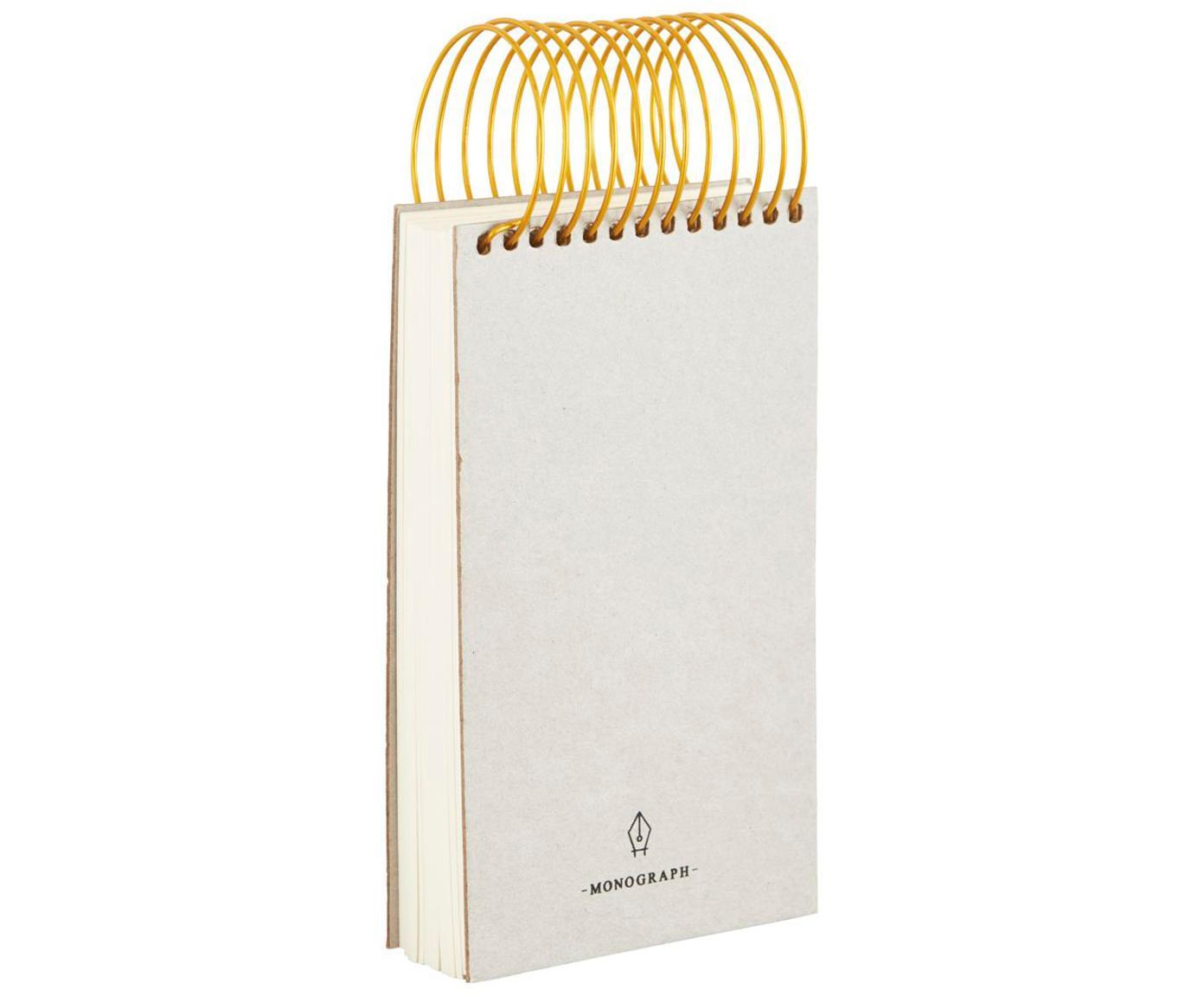 Notitieboek Spiral, Lichtgrijs, koperkleurig, 9 x 16 cm