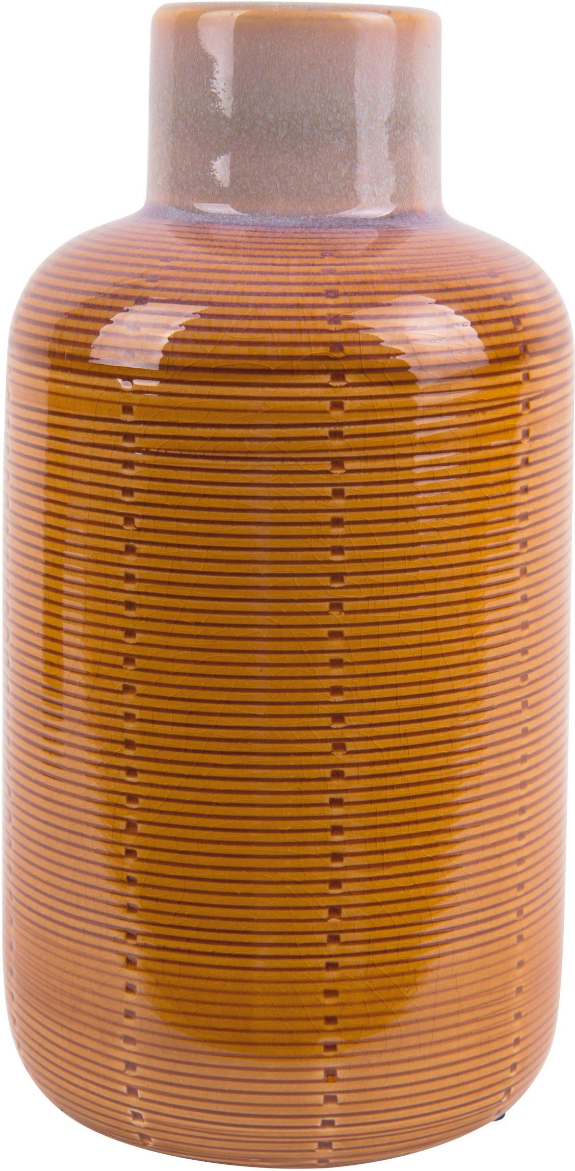 Vase Bottle aus Keramik, Keramik, Orange, Ø 12 x H 23 cm