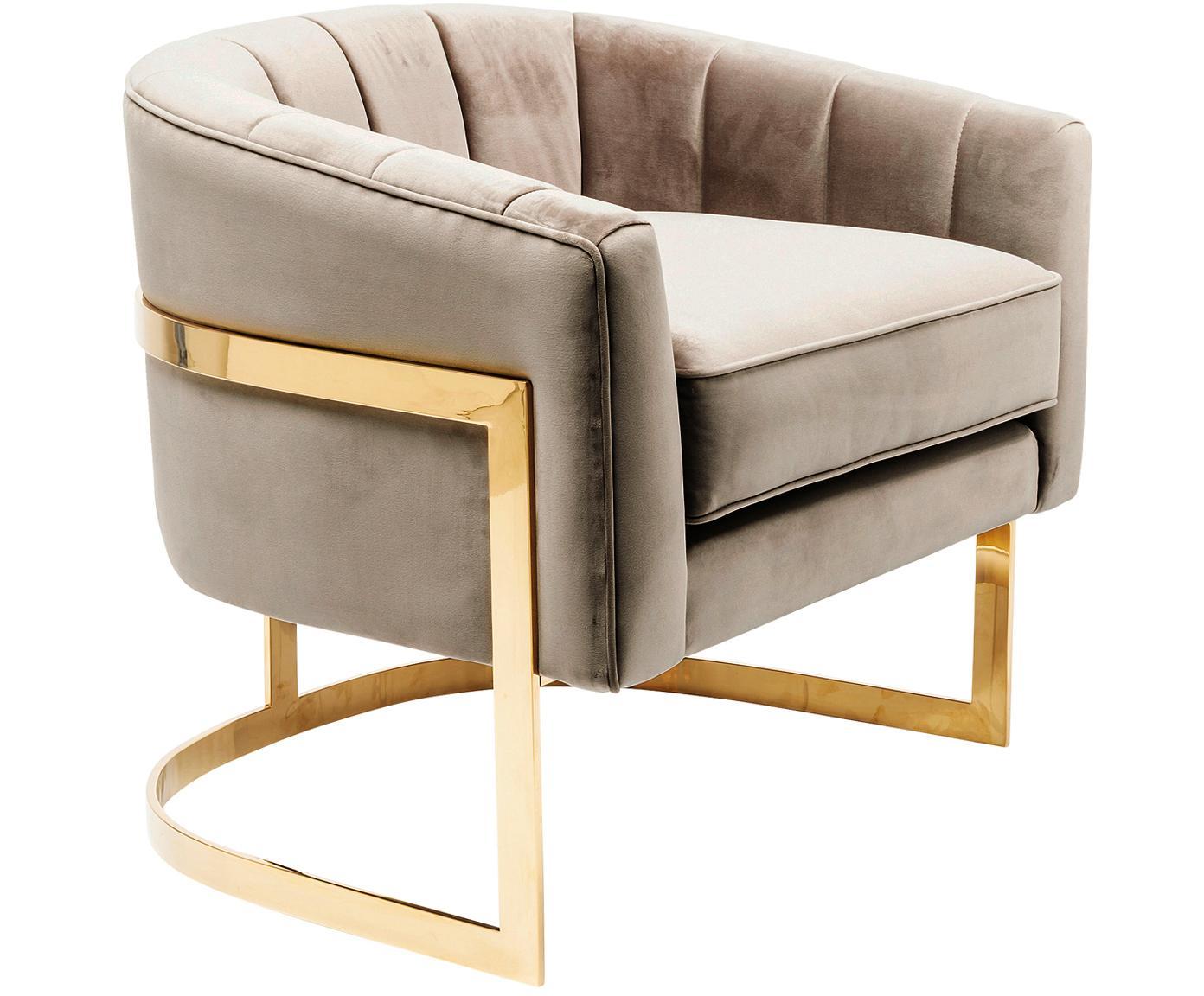 Fluwelen lounge fauteuil Pure Elegance in greige, Bekleding: polyester (fluweel), Frame: verchroomd edelstaal, Frame: massief grenenhout, Greige, B 77 x D 70 cm